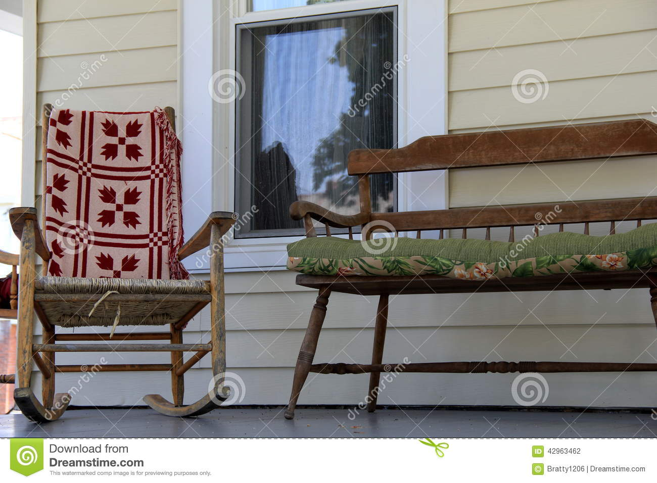 Fantastic Welcoming Rocking Chair And Bench On Wood Porch Stock Photo Spiritservingveterans Wood Chair Design Ideas Spiritservingveteransorg
