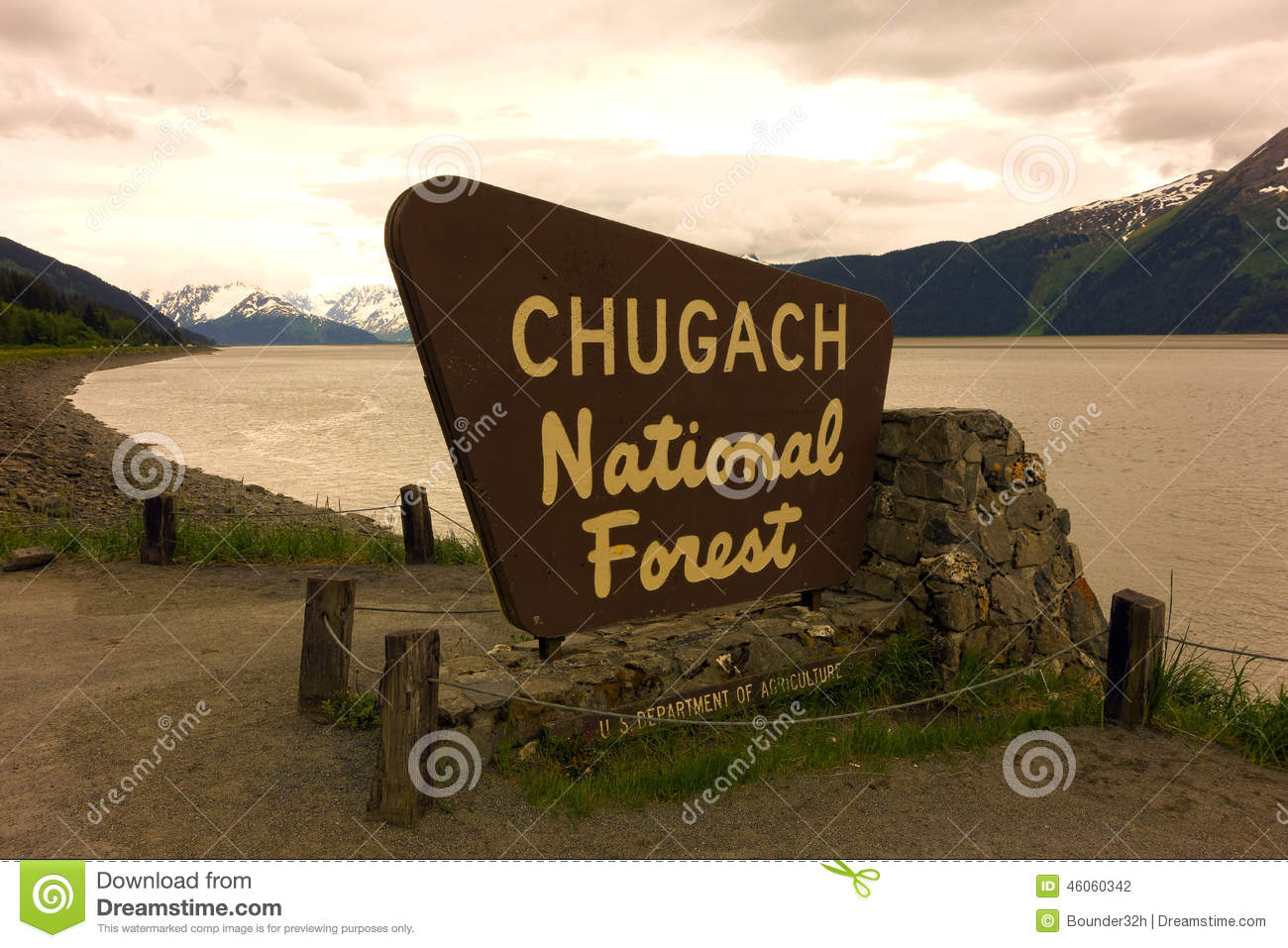 A welcoming sign at the chugach national forest