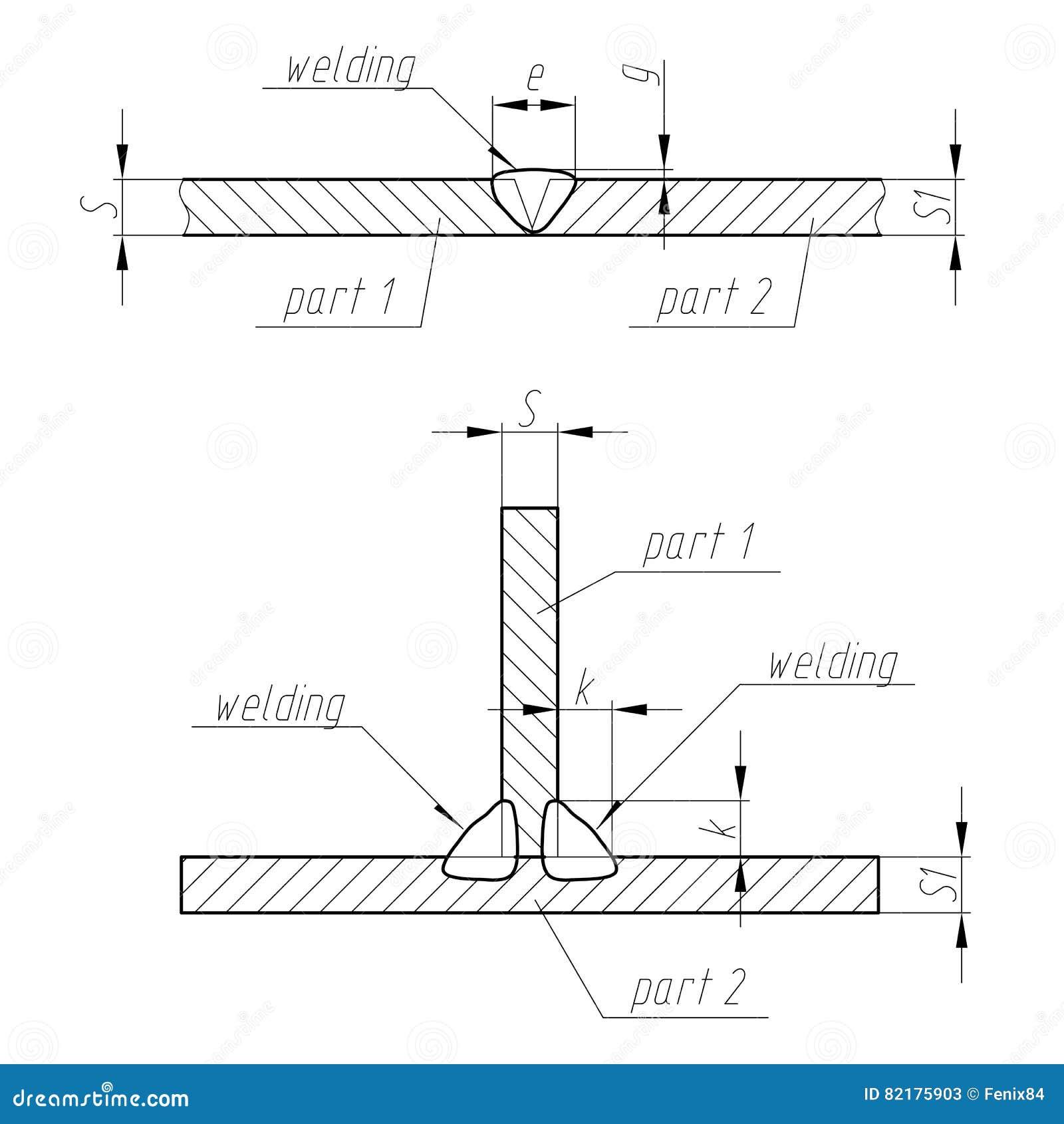 Weld Scheme Of Welding Two Parts Vector Illustration Stock Diagram