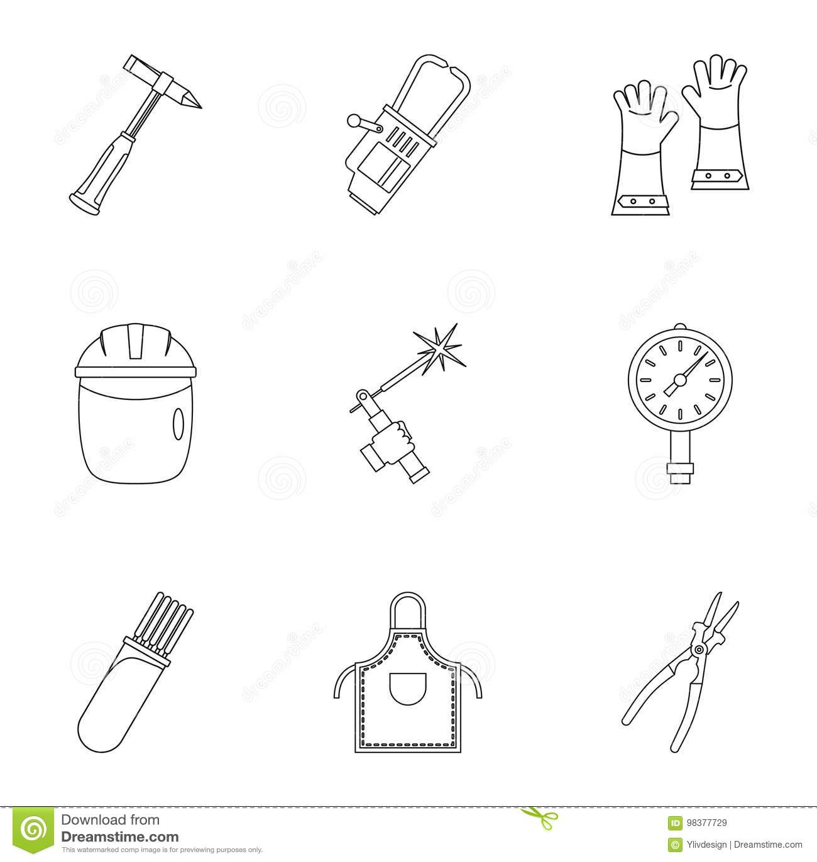 Welder Instrument Icon Set Outline Style Stock Vector Welding Helmet Diagram Download Illustration Of
