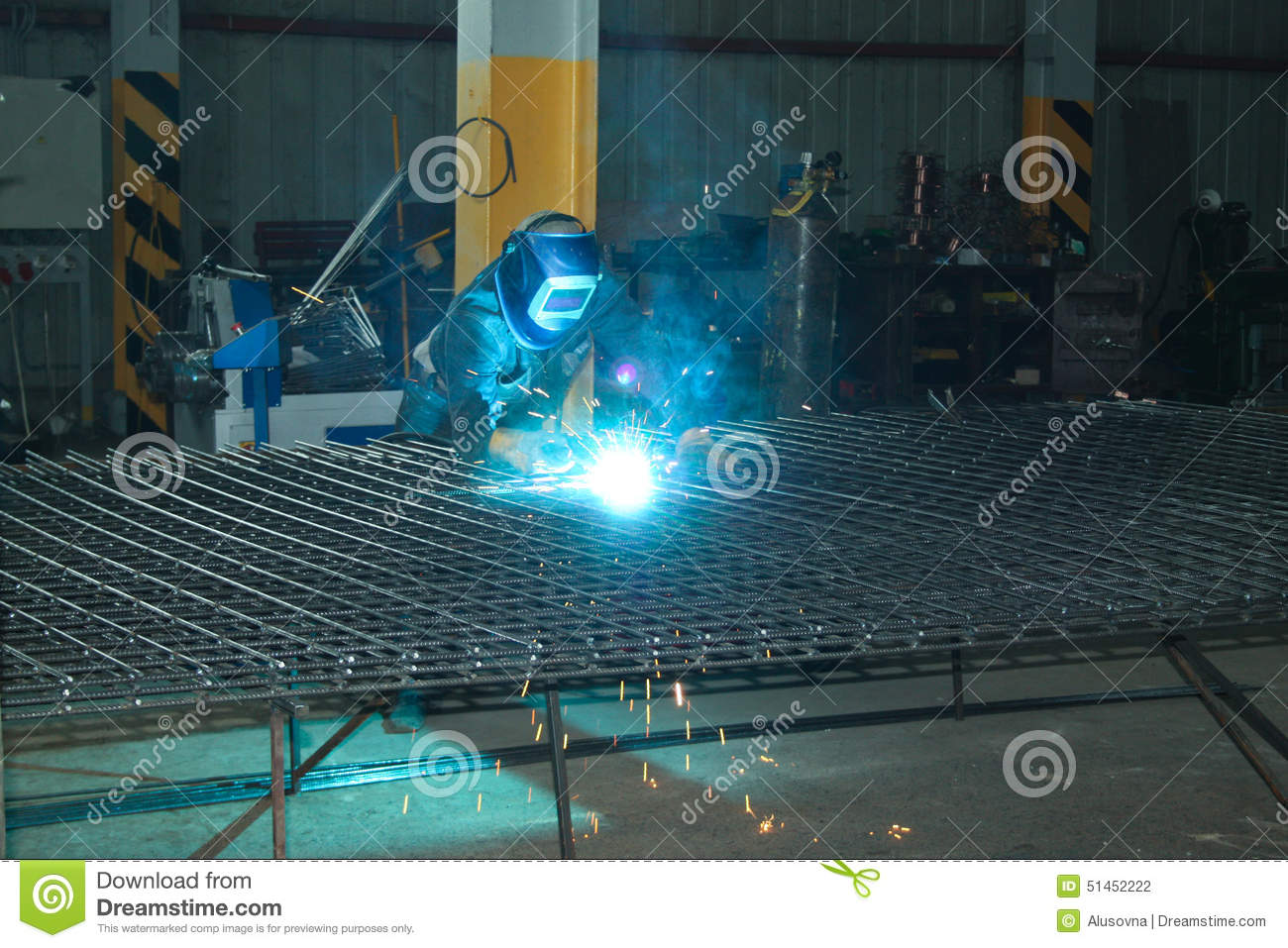 Welder of Metall mesh stock photo. Image of horizontal - 51452222