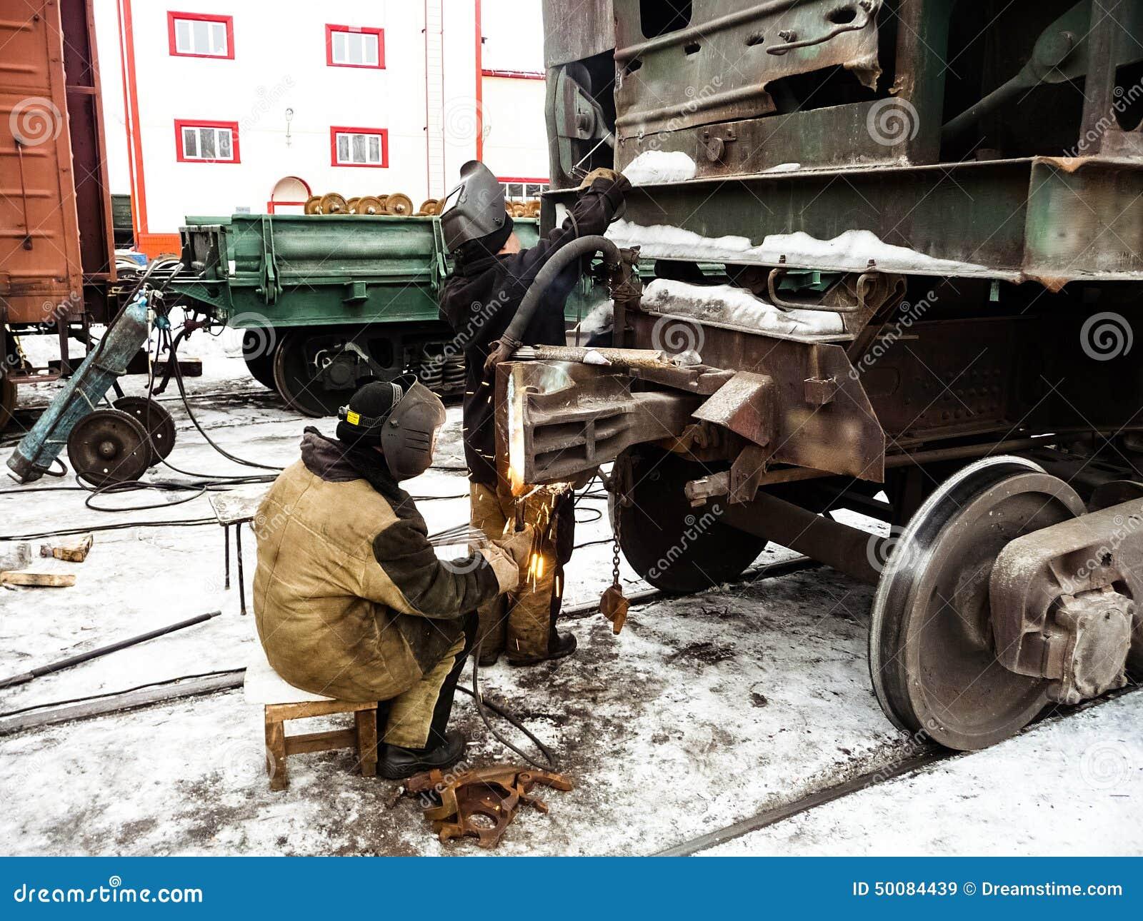 Welder Repairing Railway Carriage Stock Image - Image of