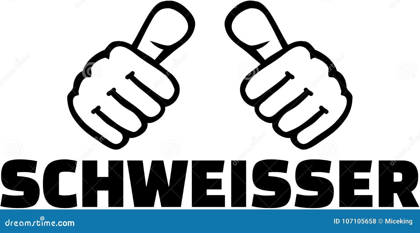 Welder With Thumbs German T Shirt Design Stock Vector