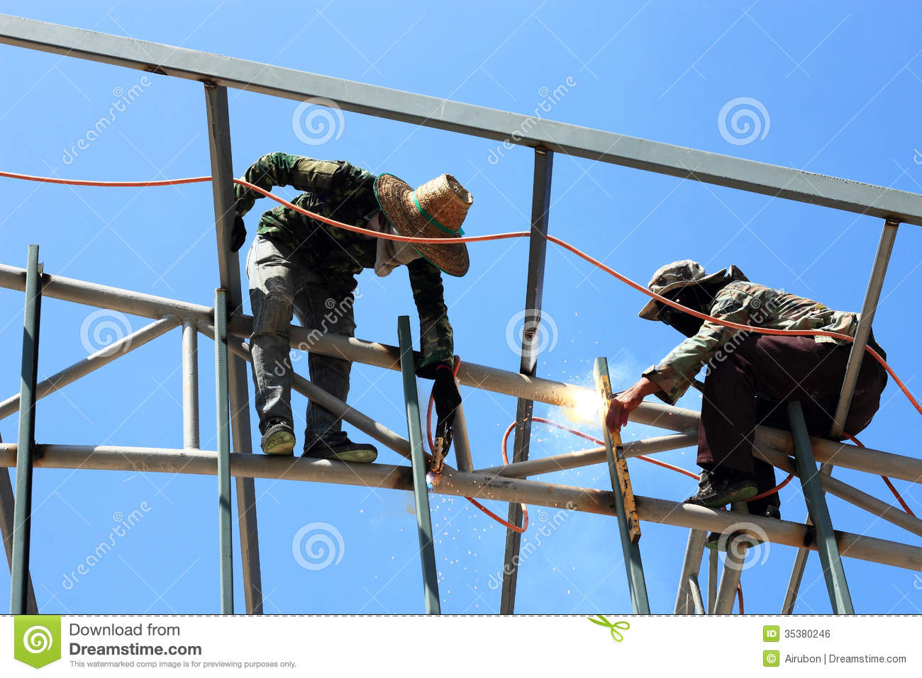 Welder Welding Metal On Roof Stock Photo Image Of Safety