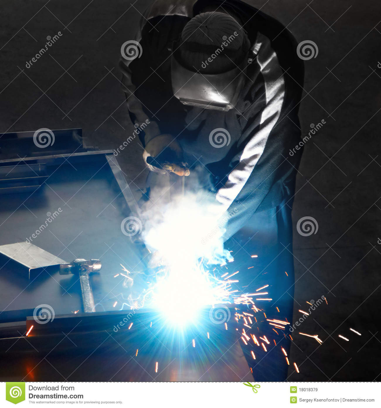 Welder With Welding Sparks Royalty Free Stock Images