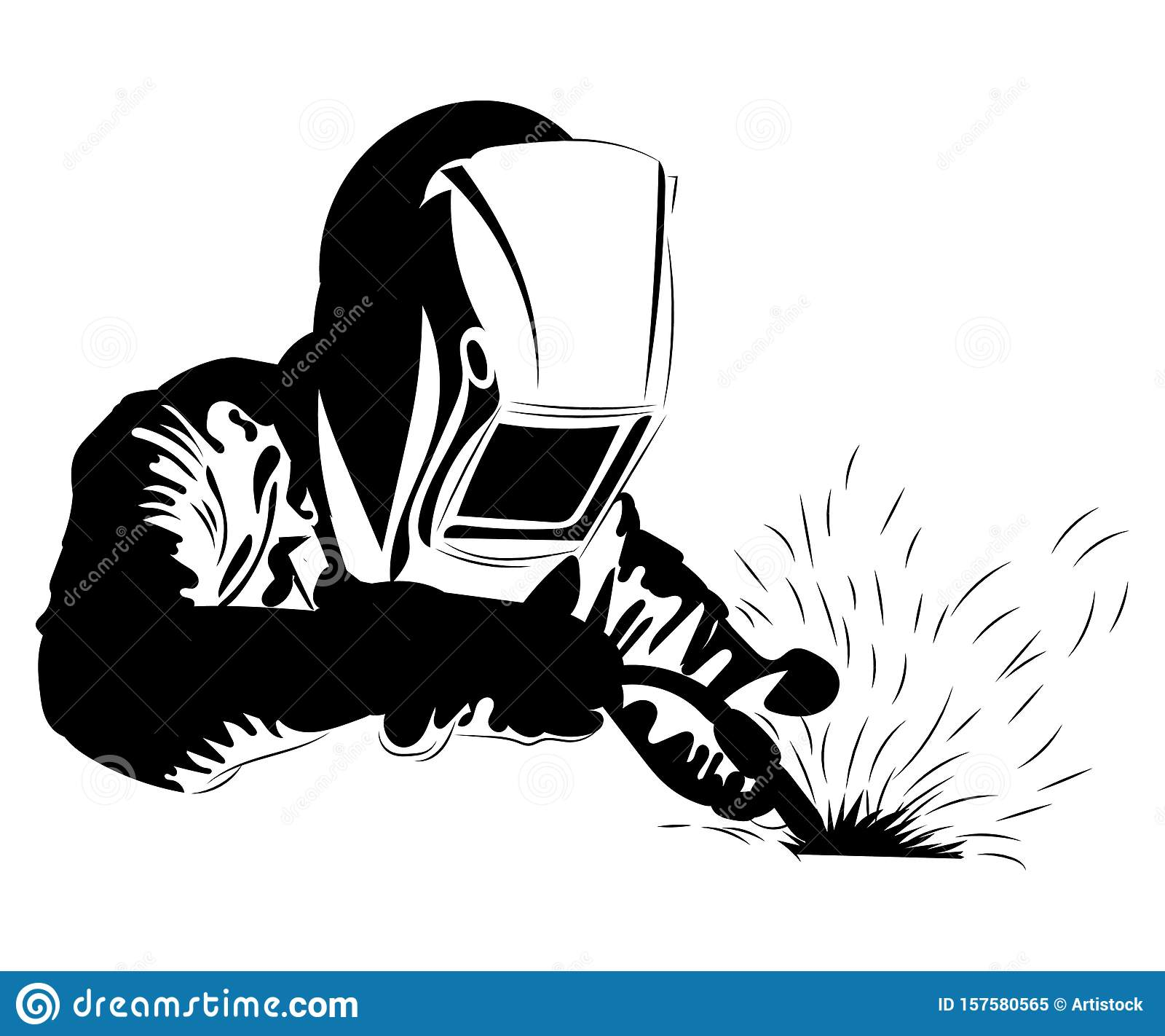 Welder Welds Metal Black And White Illustration Of A Welder In Work Clothes Linear Art Silhouette Of A Welder Vector Stock Vector Illustration Of Hand Mask 157580565