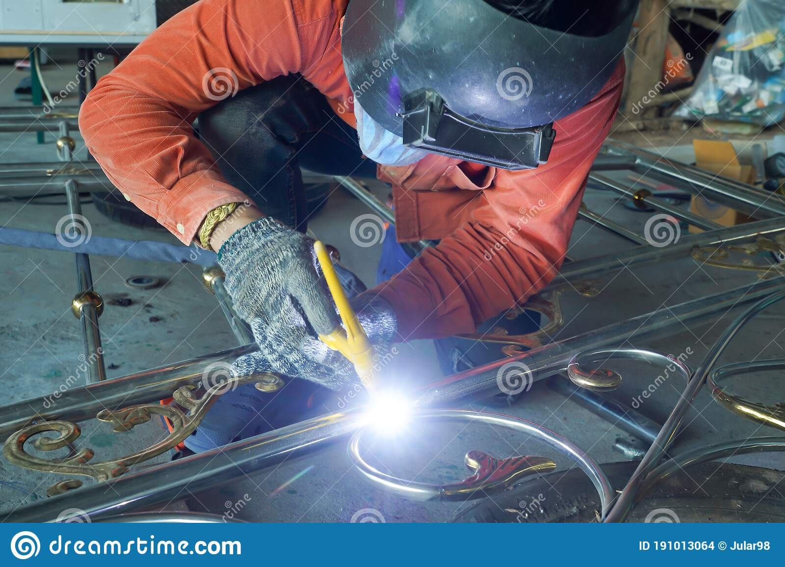 Welders Are Welding The Various Parts Stock Photo Image Of Flash Mask 191013064