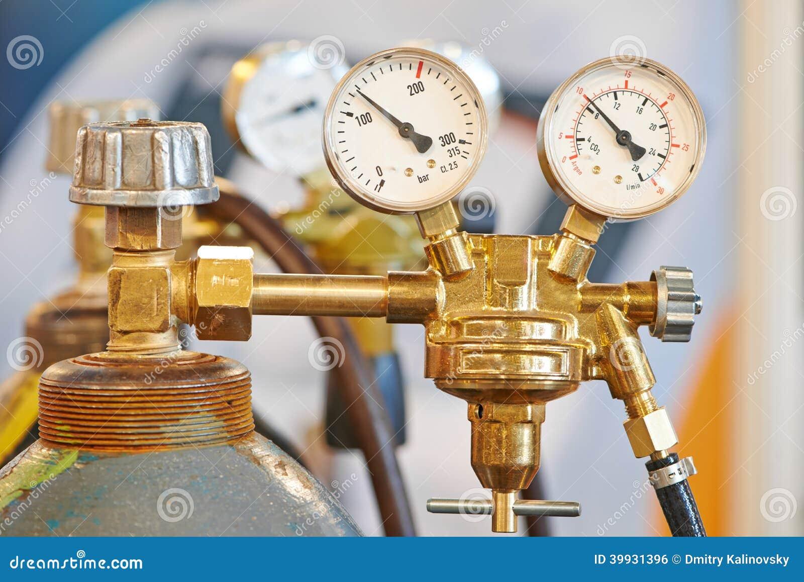 Welding acetylene gas cylinder tank with gauge stock photo