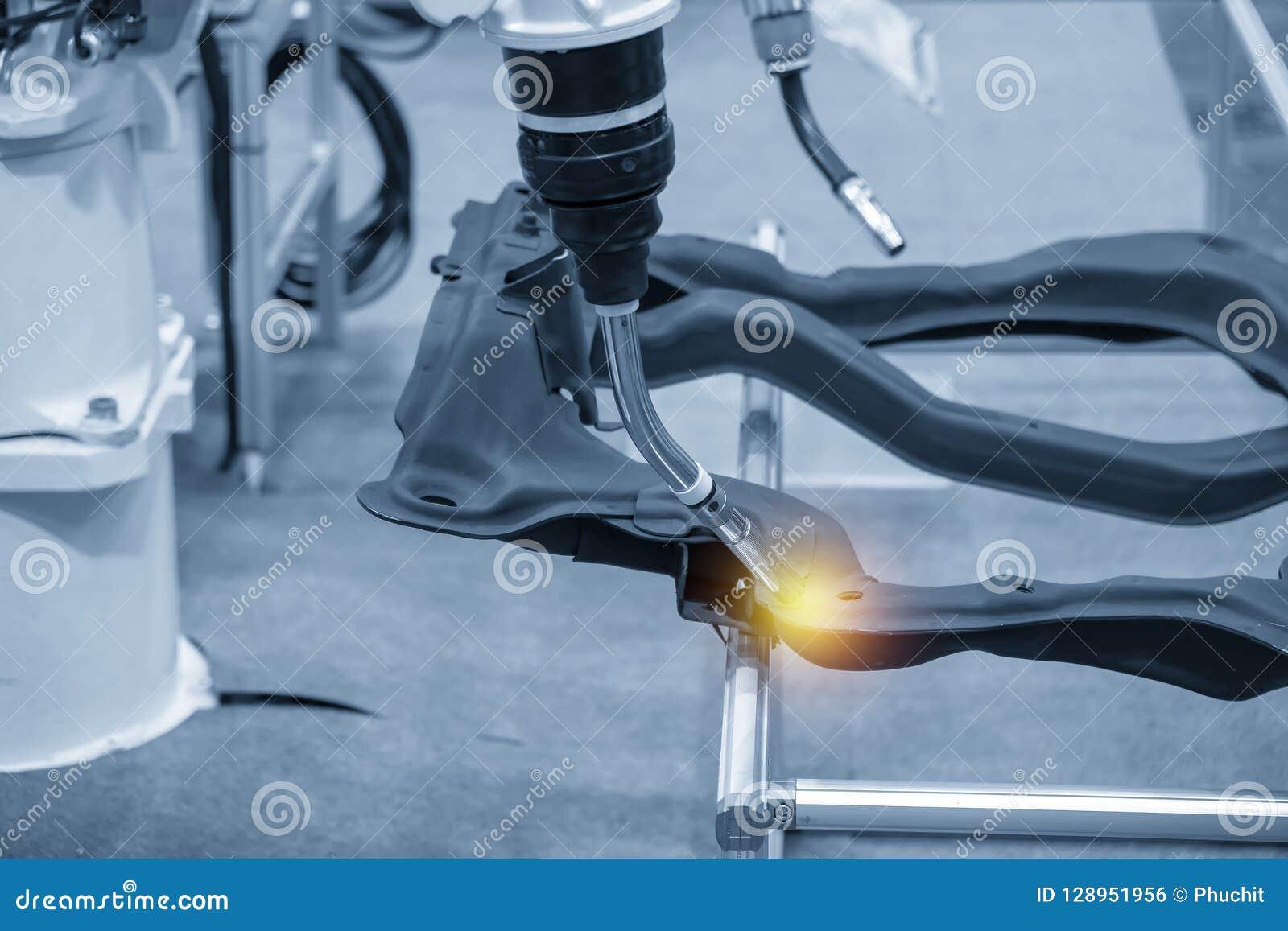 The welding robot machine for welding automotive part.