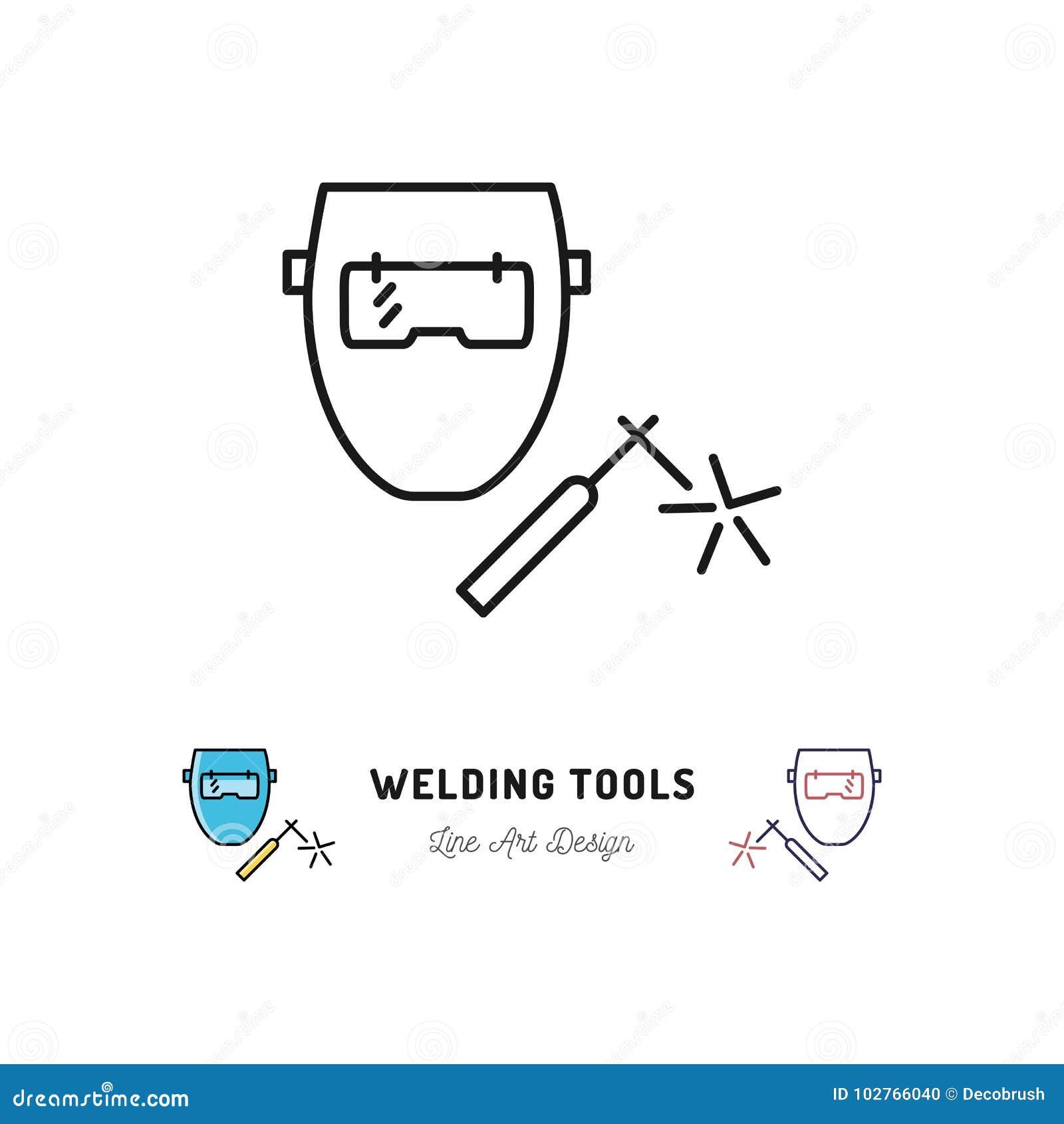 welding tools icon welding machine and welder mask vector thin rh dreamstime com Welding Equipment Diagram Welding Chart
