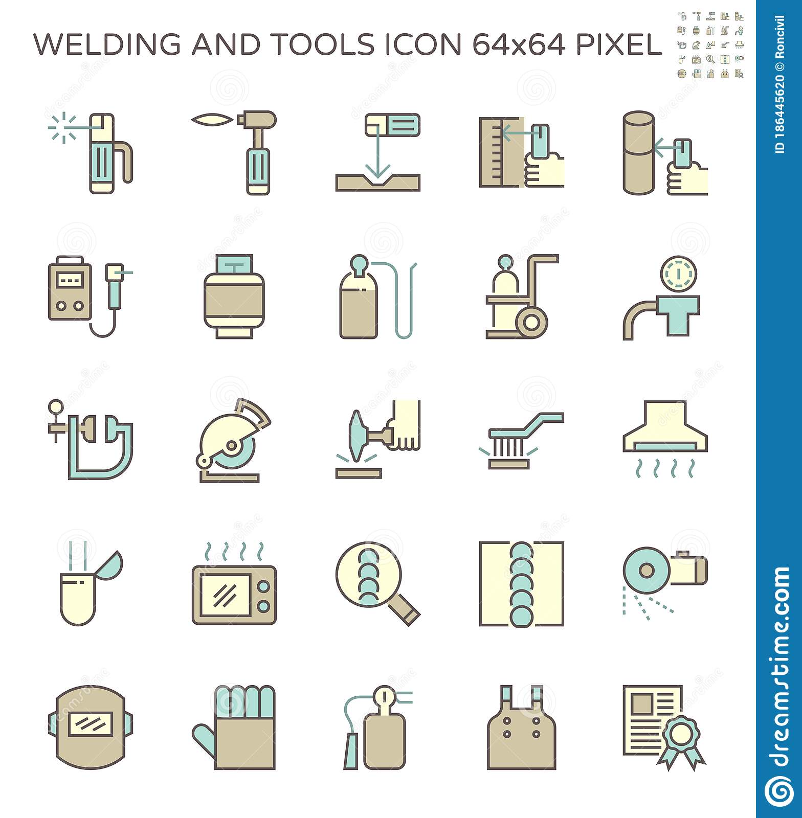 Welding Work And Tools Such As Welding Torch Gas Cutting Tool And Other Vector Icon Set Design 64x64 Perfect Pixel And Editable Stock Illustration Illustration Of Industrial Isolated 186445620