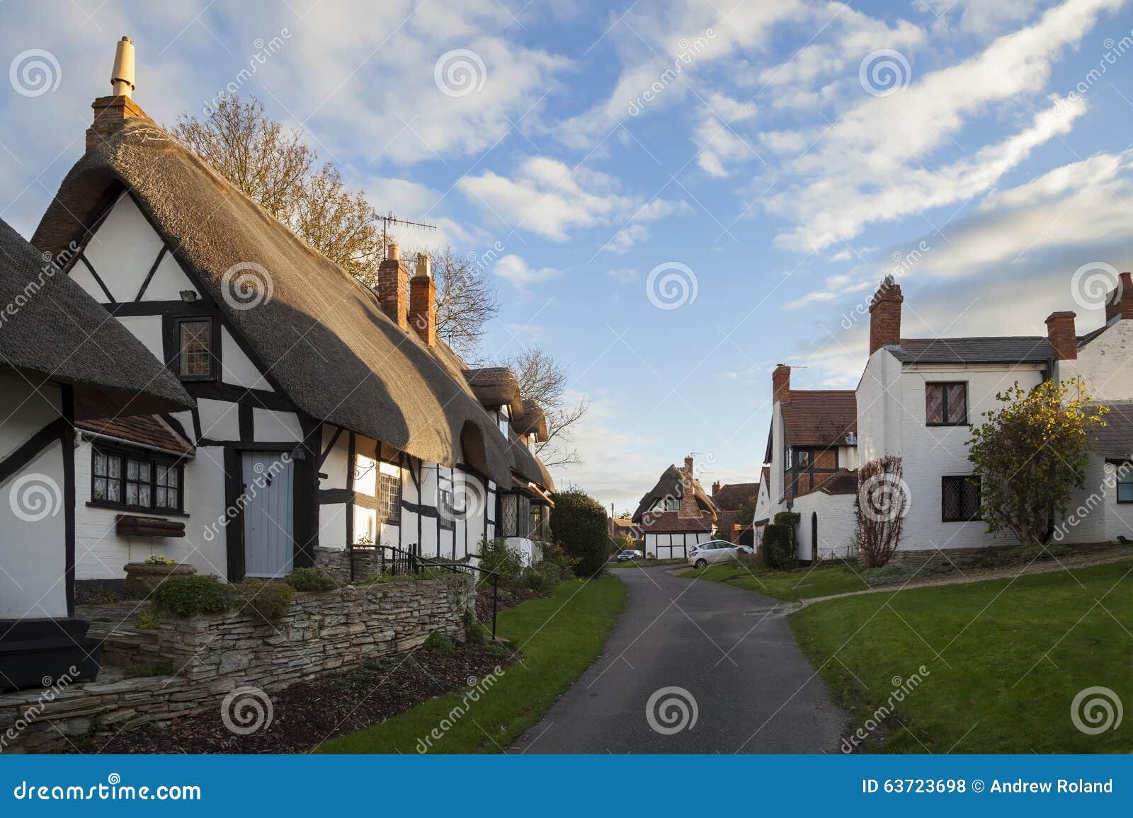 European Cottage House Plans Welford On Avon Village Warwickshire England Stock Photo