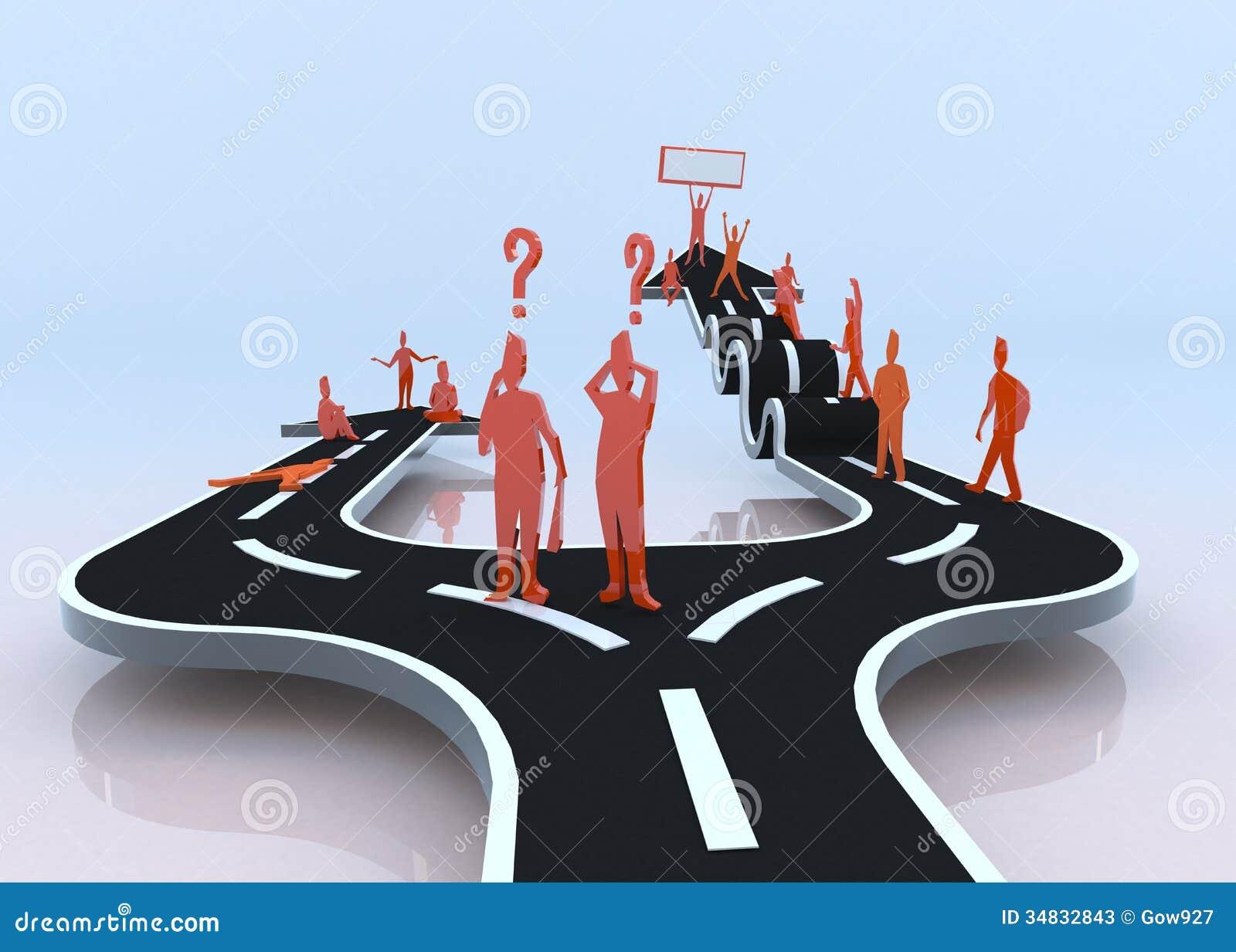 Welke Weg U Zult Kiezen? De Luiheid Of De Ontbering? (3D) Stock Foto u0026#39;s   Afbeelding  34832843