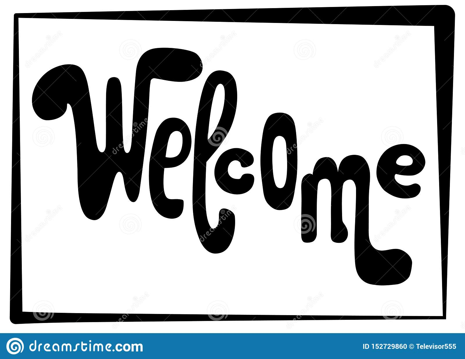 Welkom het van letters voorzien inschrijving Zwarte vectorbrieven op witte achtergrond Speels handschrift voor deuringang