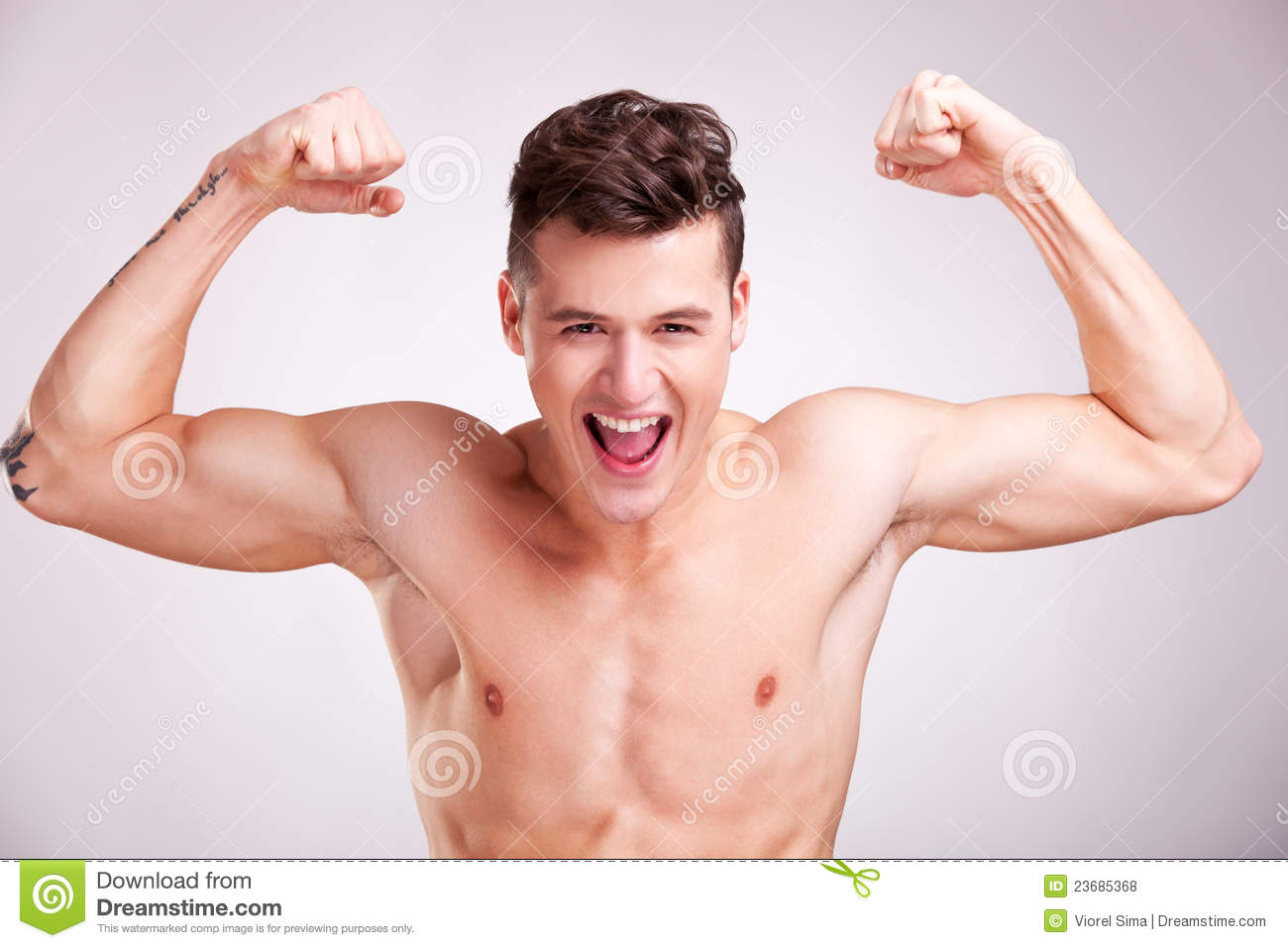 Well Built Muscularyoung Man Screams Stock Photo Image