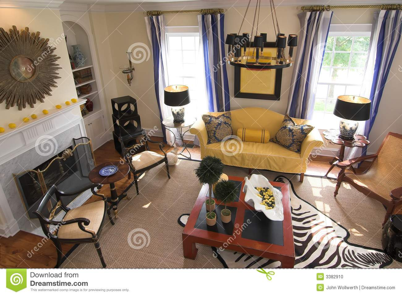 . Well decorated living room stock photo  Image of rail   3382910