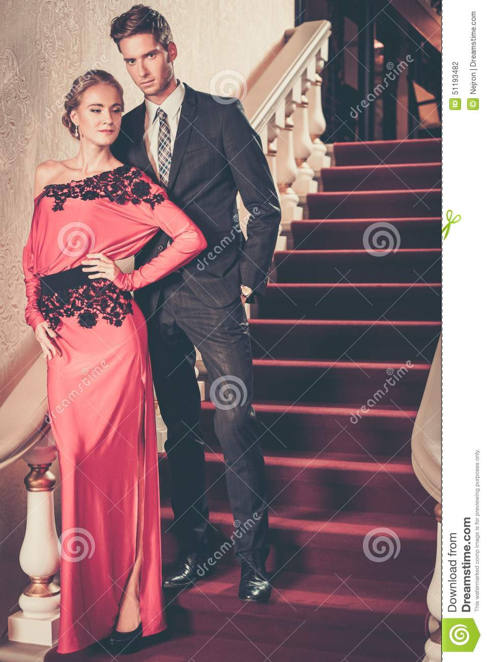 88c273e37843 Well-dressed Couple In Luxury Interior Stock Photo - Image of club ...
