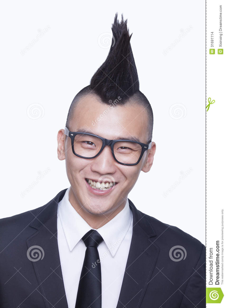 welldressed young man with mohawk portrait stock photo