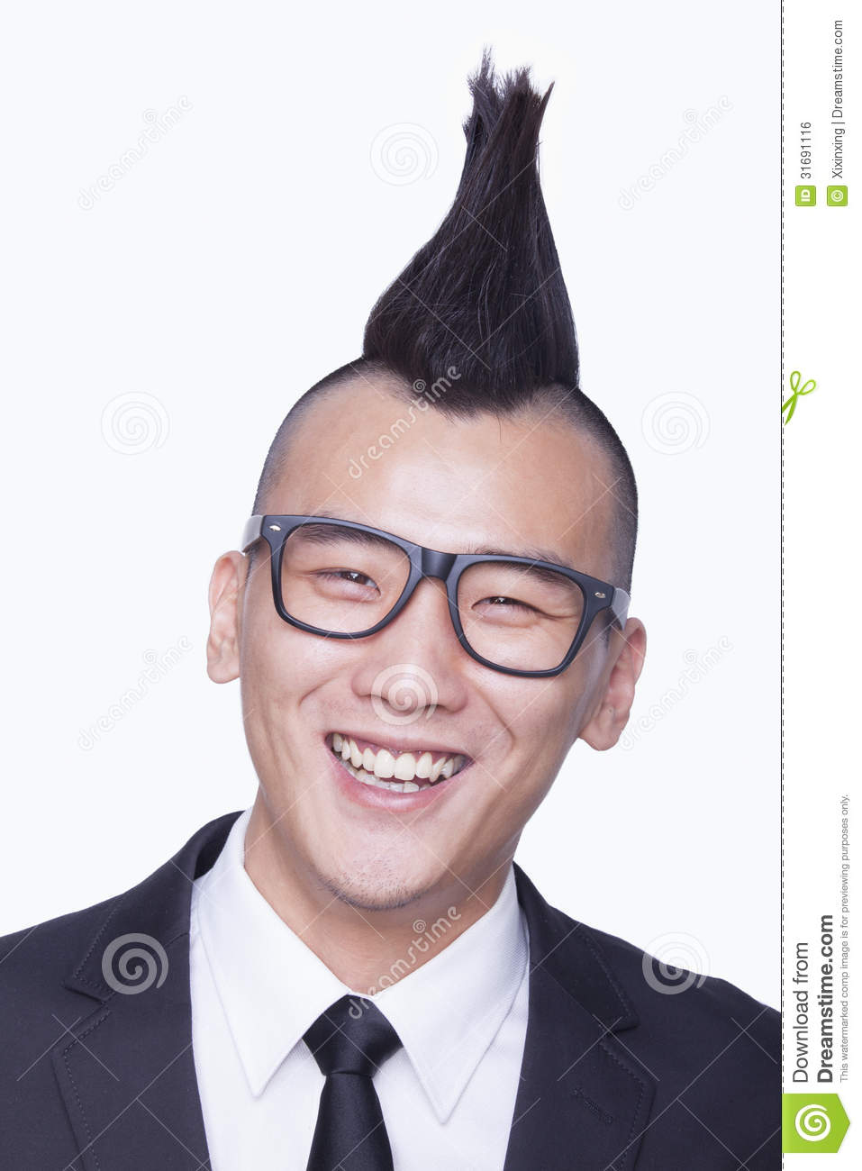 Well Dressed Young Man With Mohawk Portrait Stock Photo Image Of