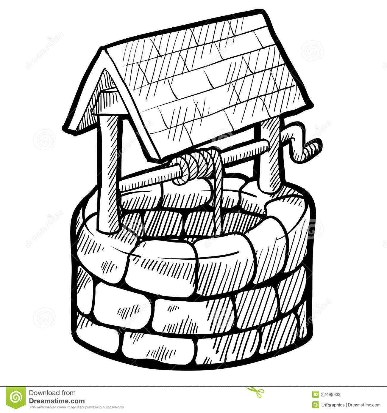 Well house sketch stock vector illustration of drawing for Well pictures