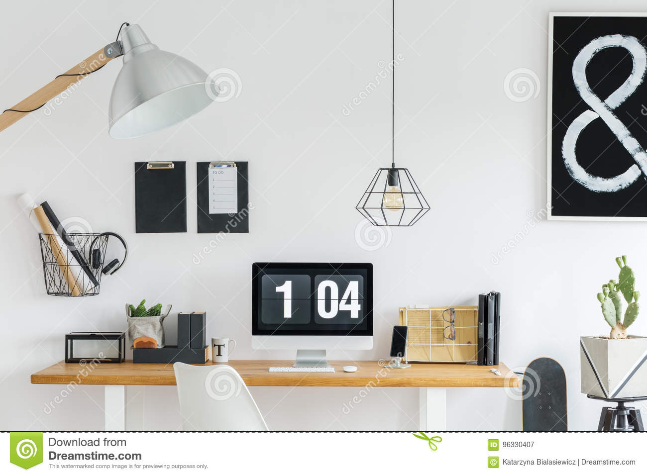 Well organized desk stock image. Image of design, poster - 96330407