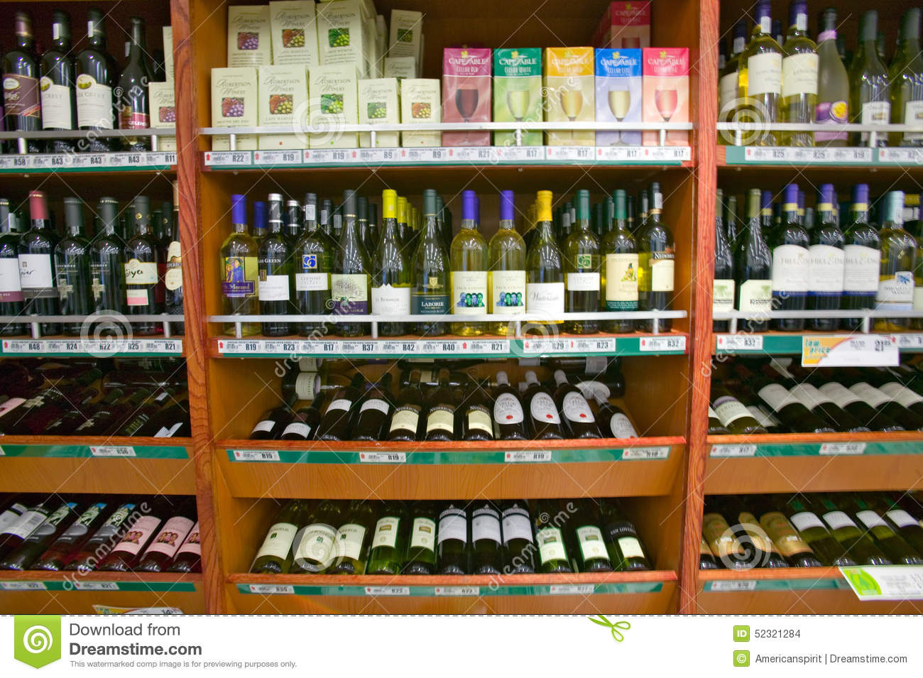 well stocked wine shelf in grocery store in zululand south. Black Bedroom Furniture Sets. Home Design Ideas