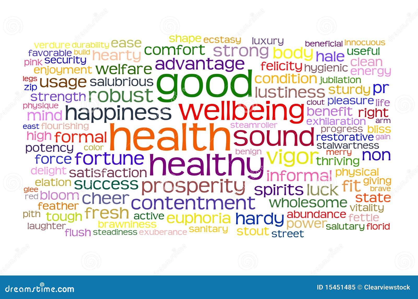 Wellbeing för etikett för god hälsa för oklarhet