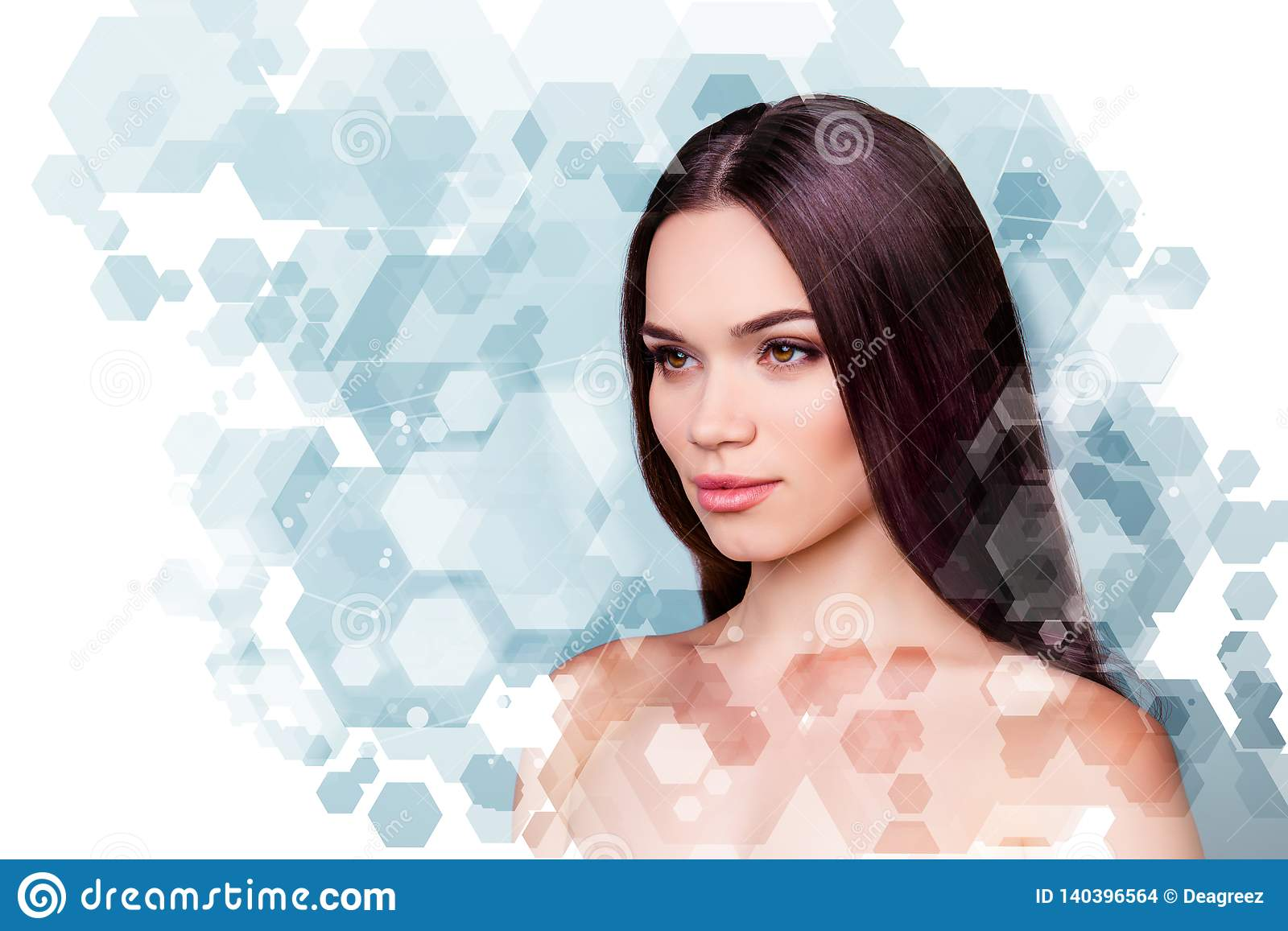 Wellbeing and wellness beauty and health concept. Coseup photo pretty she her young brunette woman looking fresh healthy