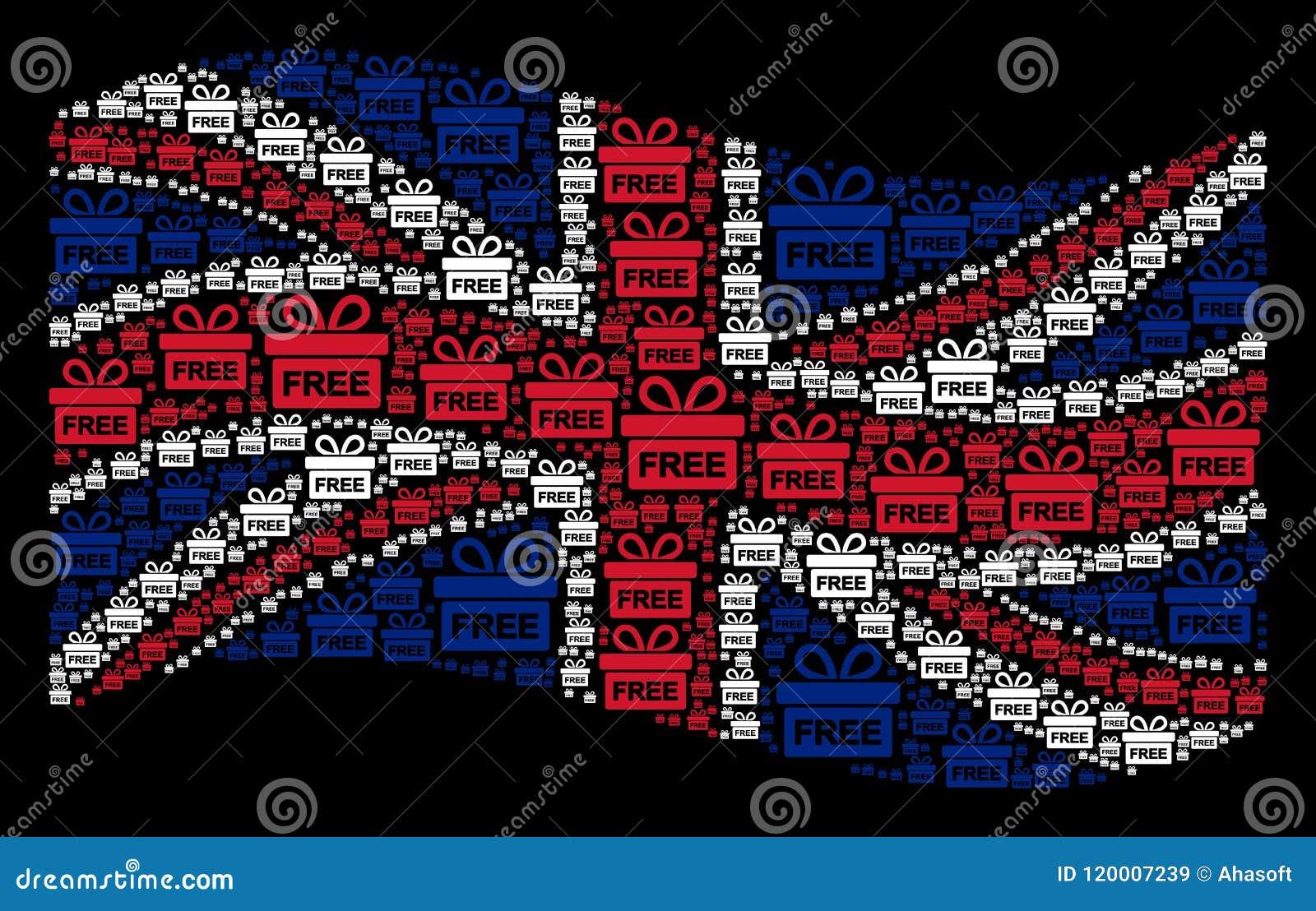 Wellenartig bewegende britische Flaggen-Collage von freien Geschenkartikeln