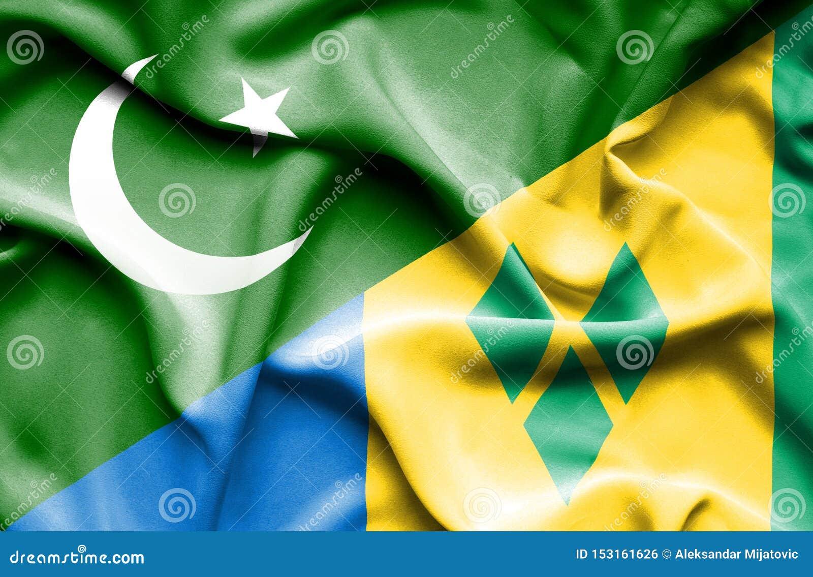 Wellenartig bewegende Flagge des Heiligen Vincent und der Grenadinen andPakistan