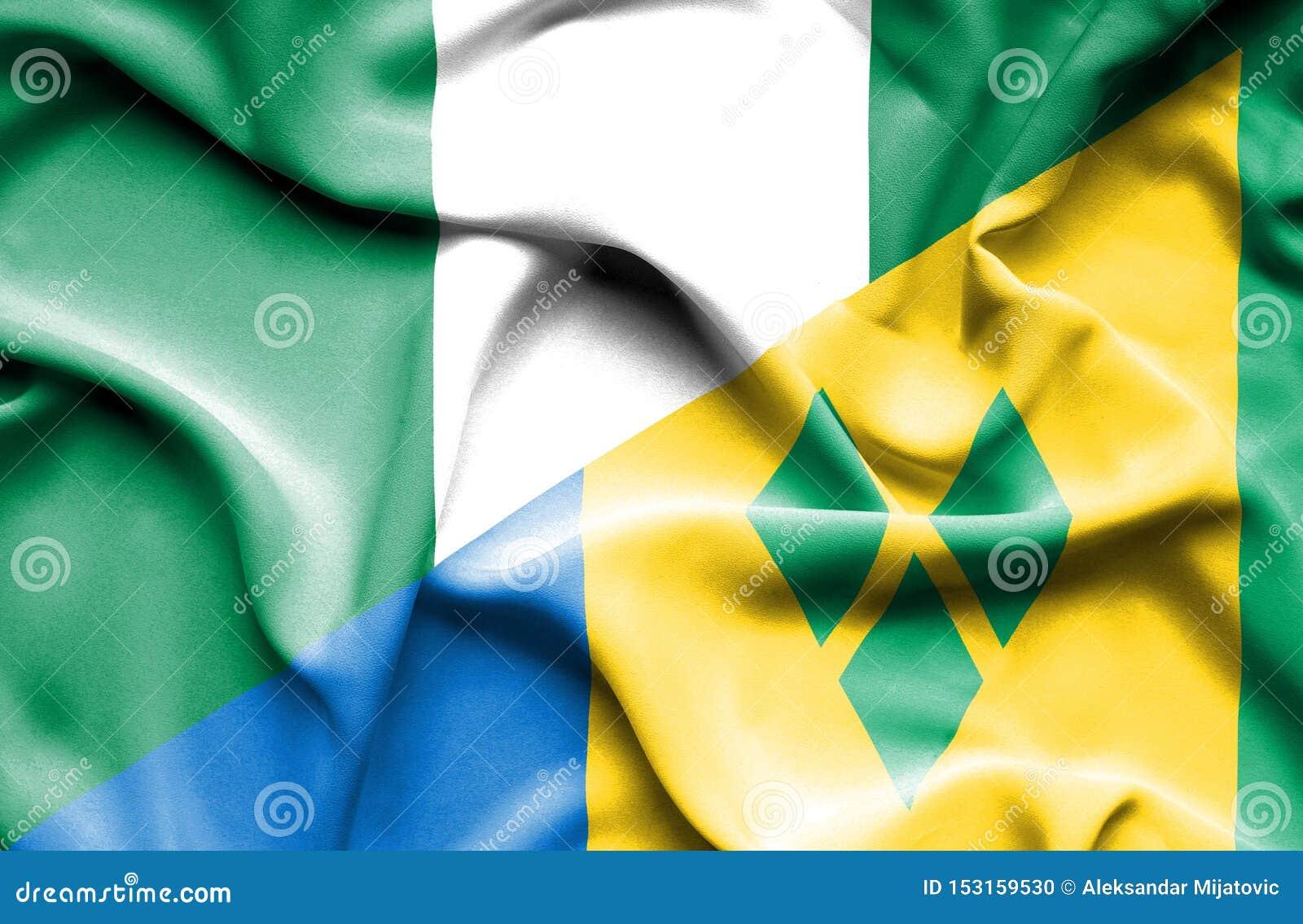 Wellenartig bewegende Flagge des Heiligen Vincent und der Grenadinen und des Nigerias