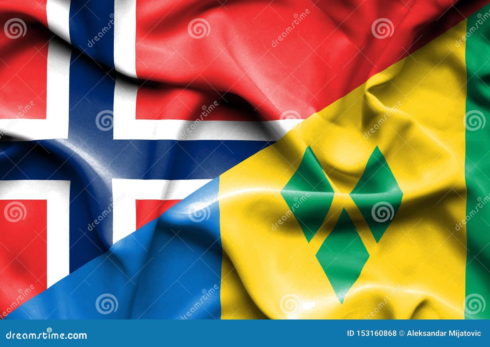 Wellenartig bewegende Flagge des Heiligen Vincent und der Grenadinen und des Norwegens