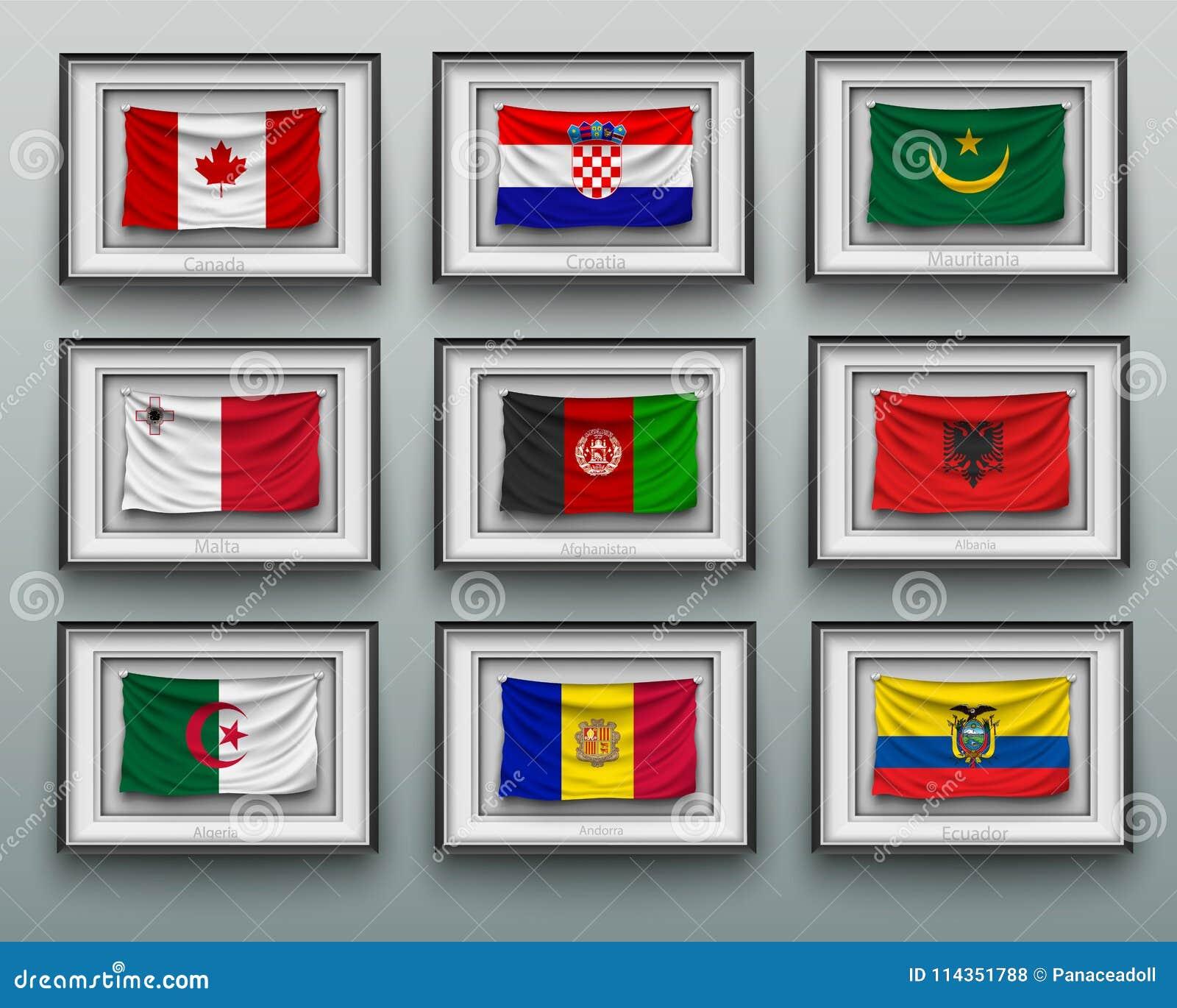 Wellenartig Bewegende Flaggen Im Bilderrahmen Auf Der Wand Stock ...