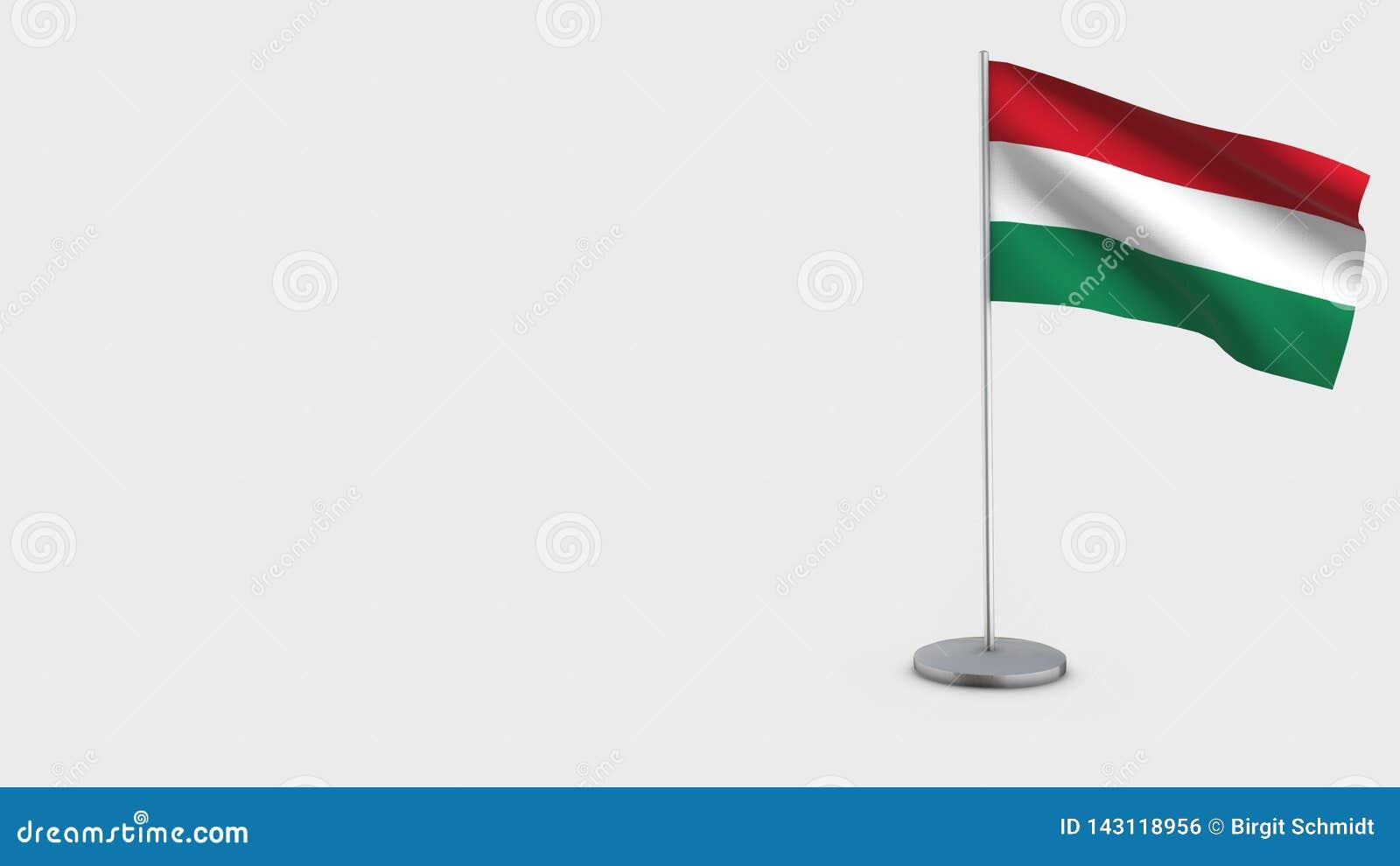 Wellenartig bewegende Flaggenillustration Ungarns 3D