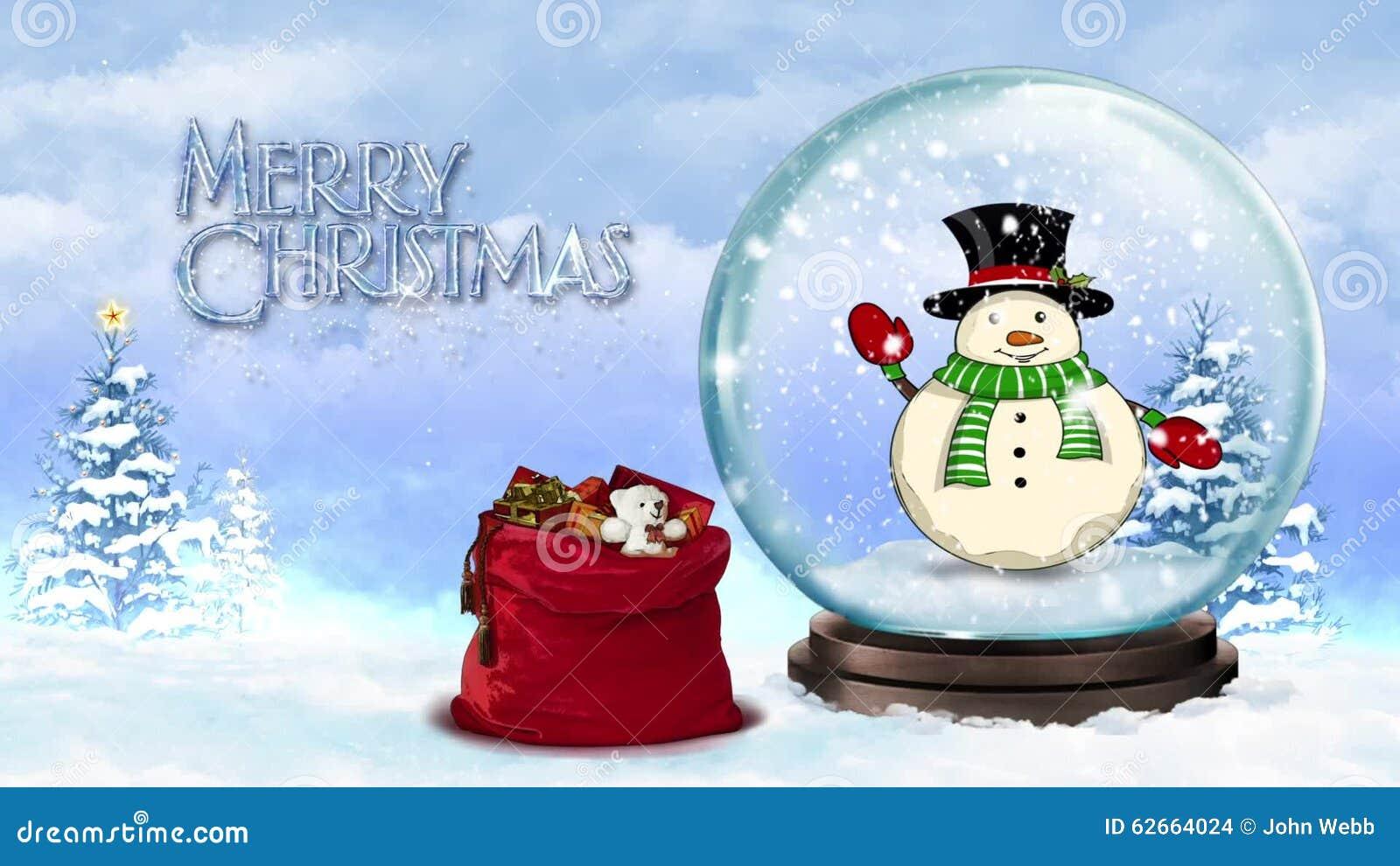 Wellenartig Bewegender Schneemann In Schnee-Kugel-frohen Weihnachten ...