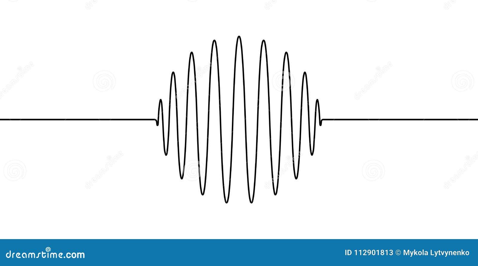 Wellenformen des runden Ringbereichs des Umfanges, Vektor, zum von einer Linie Wellenton, Erschütterungen, akustische Wellen, Osz