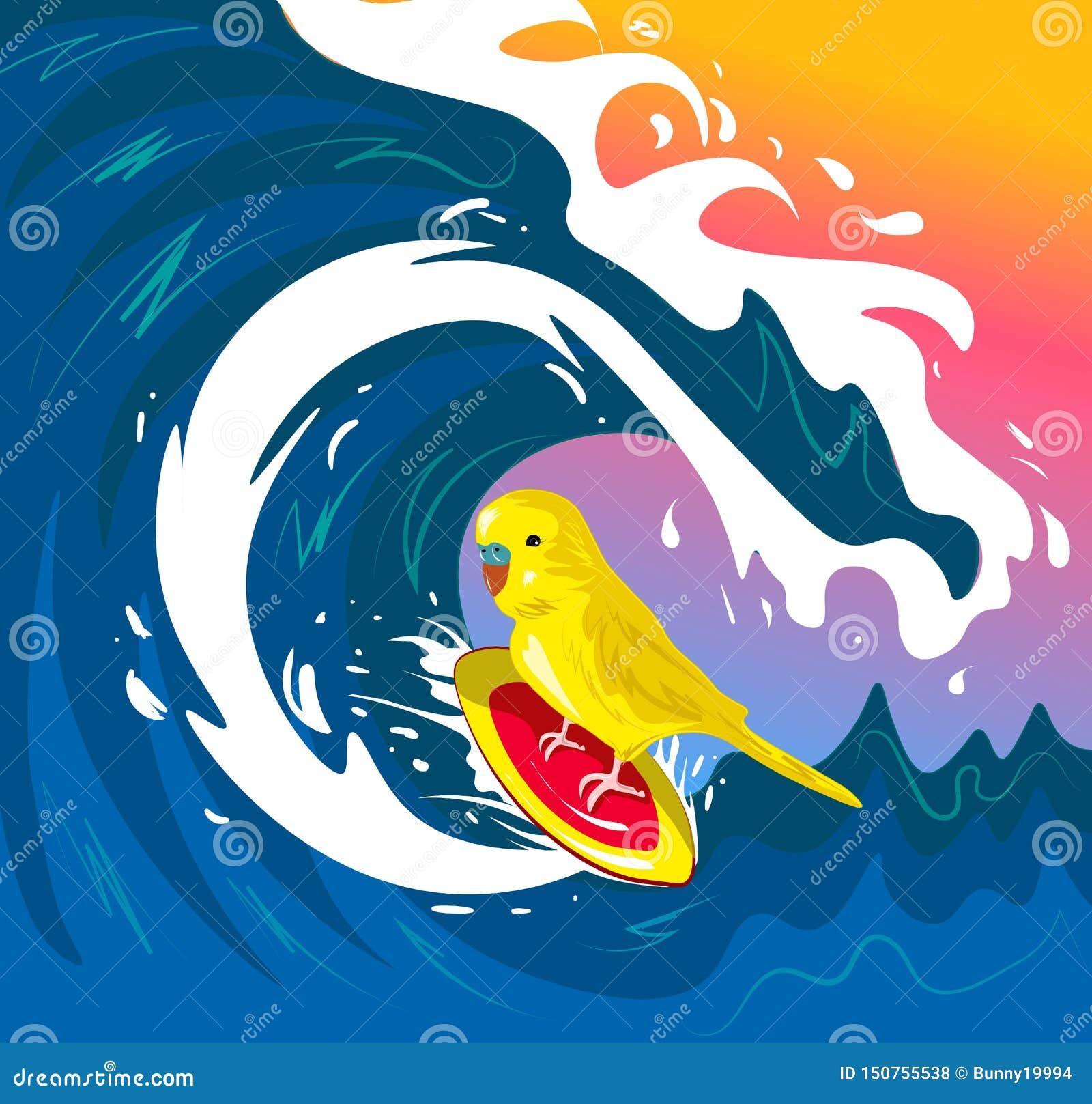 Wellensittich, der auf Welle schwankt Vervollkommnen Sie für Dekor wie Plakate, Wandkunst, Einkaufstasche, T-Shirt Druck, bewegli