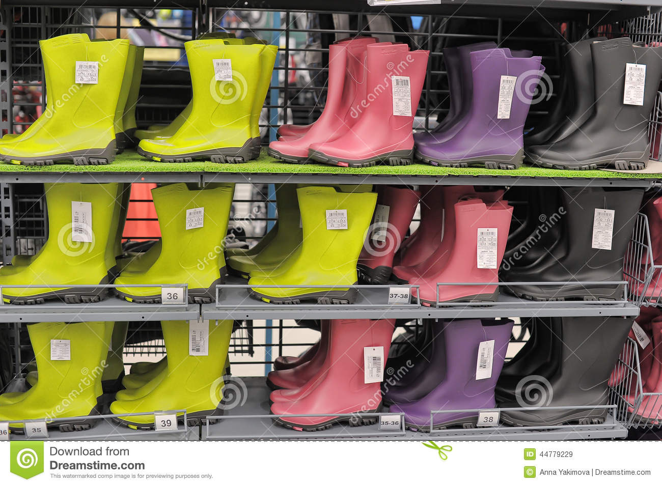 Wellington Rubber Or Rain Boots In A Store. Editorial Stock Image
