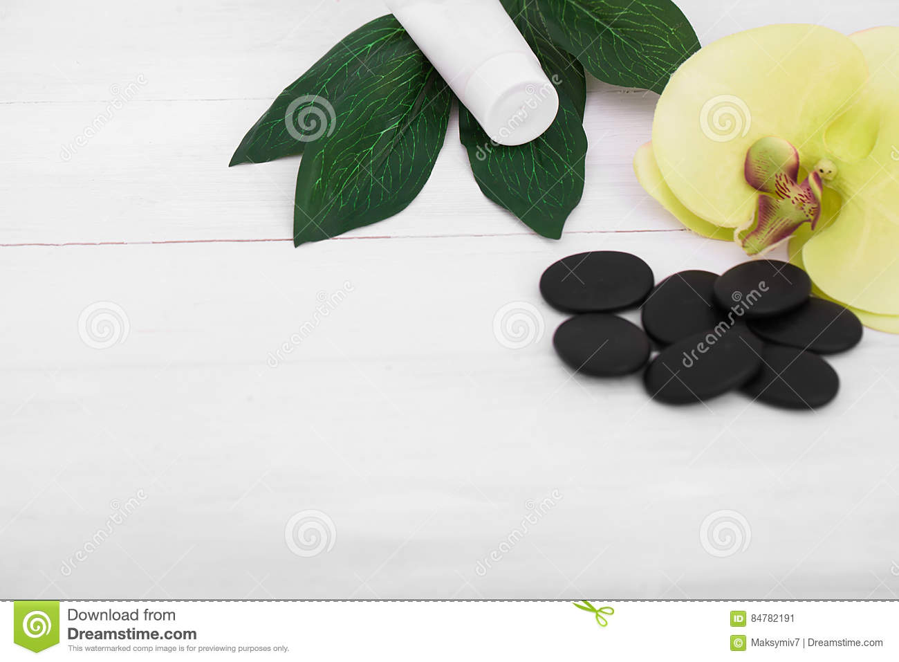 Wellness background  Wellness Background With Orchid Flowers And Spa Tools: Cream, Lotion ...