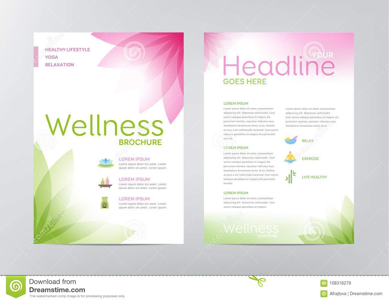Wellness Brochure Layout Template Stock Vector Illustration Of - Wellness flyer templates free