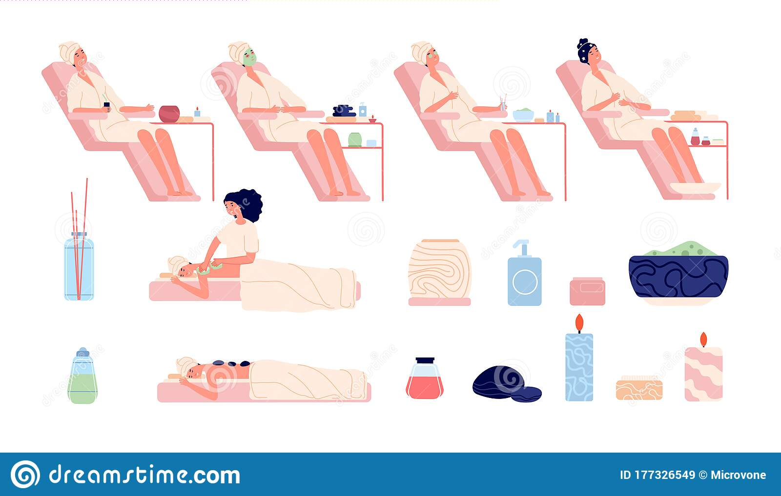 Wellness Center Foot Spa Health Nature Bath Beautiful Visitor Stone Massage And Aromatherapy Isolated Body Skincare Stock Vector Illustration Of Bamboo Flower 177326549