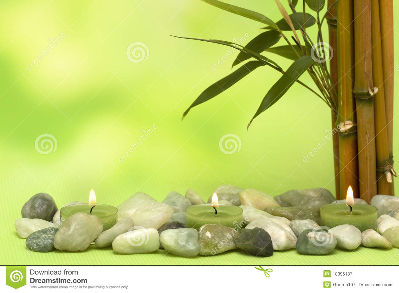 Wellness Motive With Bamboo And Candles Stock Image