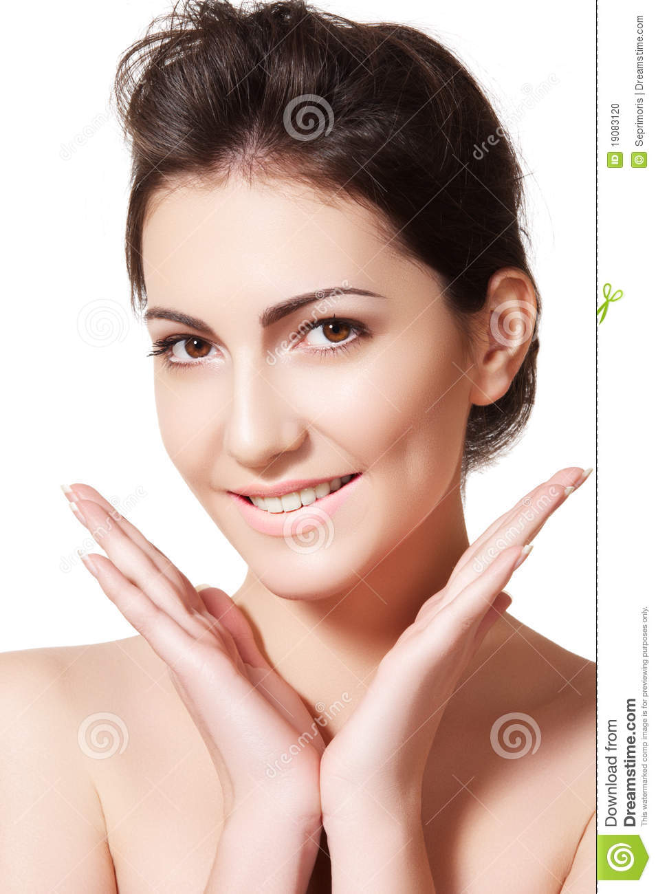 Wellness & skincare. Happy woman with clean skin