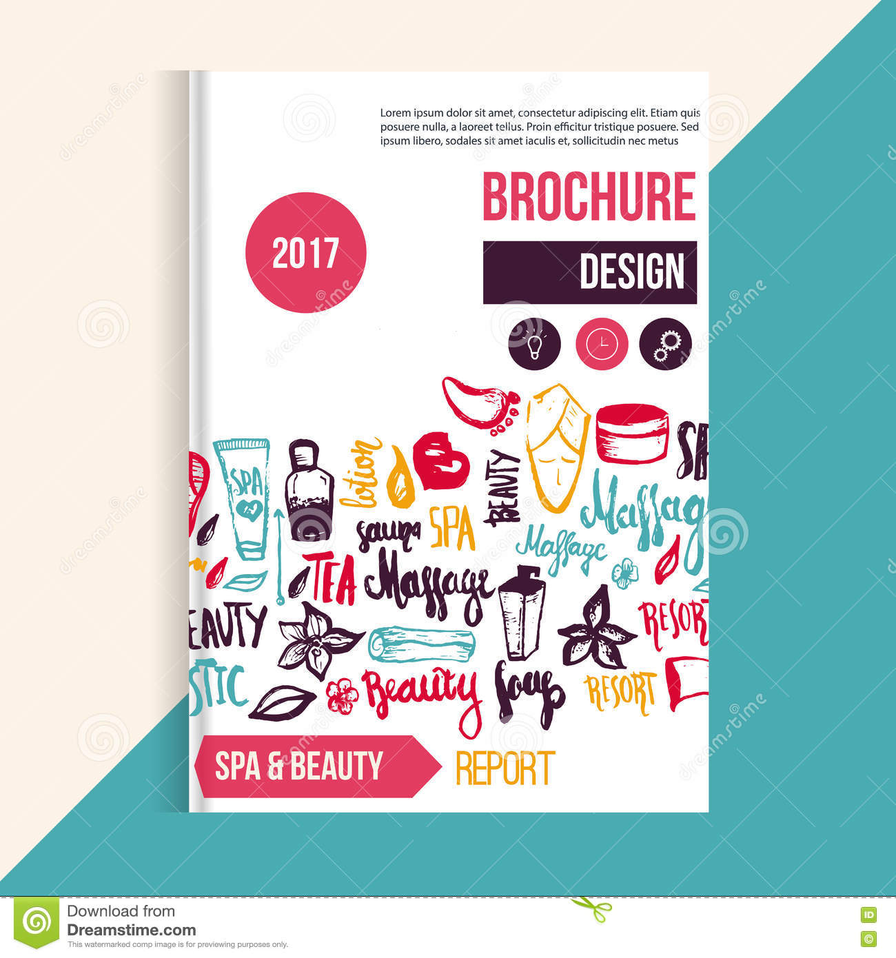 Wellness Spa Brochure Template With Hand Drawn Lettering And – Spa Brochure Template