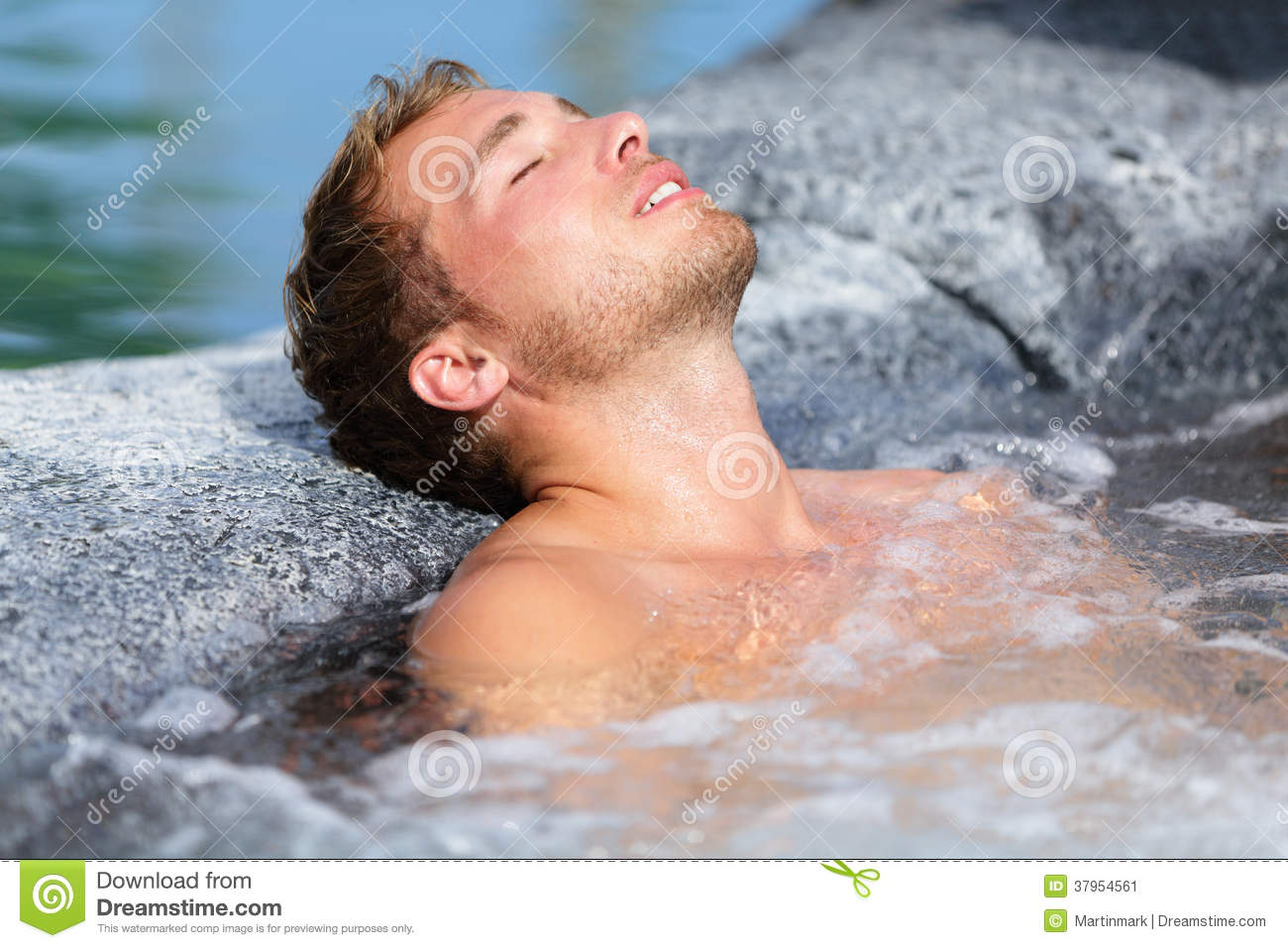 Wellness Spa - Man Relaxing In Hot Tub Whirlpool Stock Image - Image ...: www.dreamstime.com/stock-image-wellness-spa-man-relaxing-hot-tub...