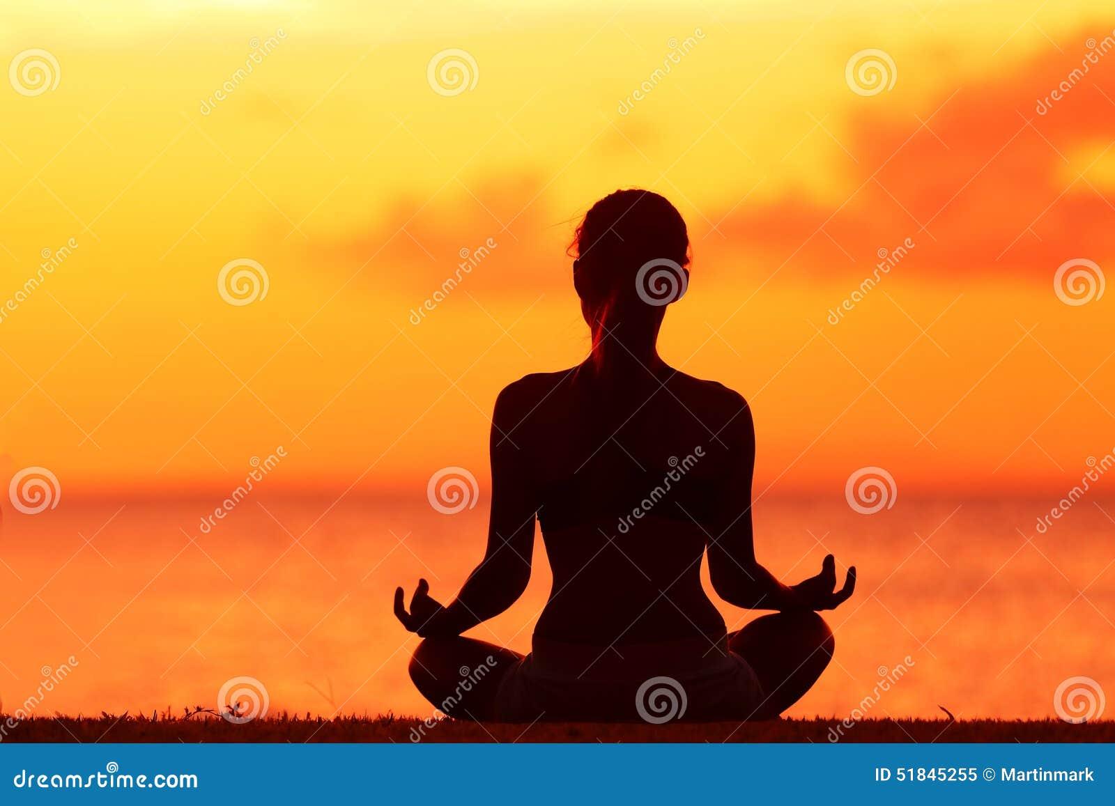 Wellness Woman Doing Zen Yoga Meditation On Beach Stock ...