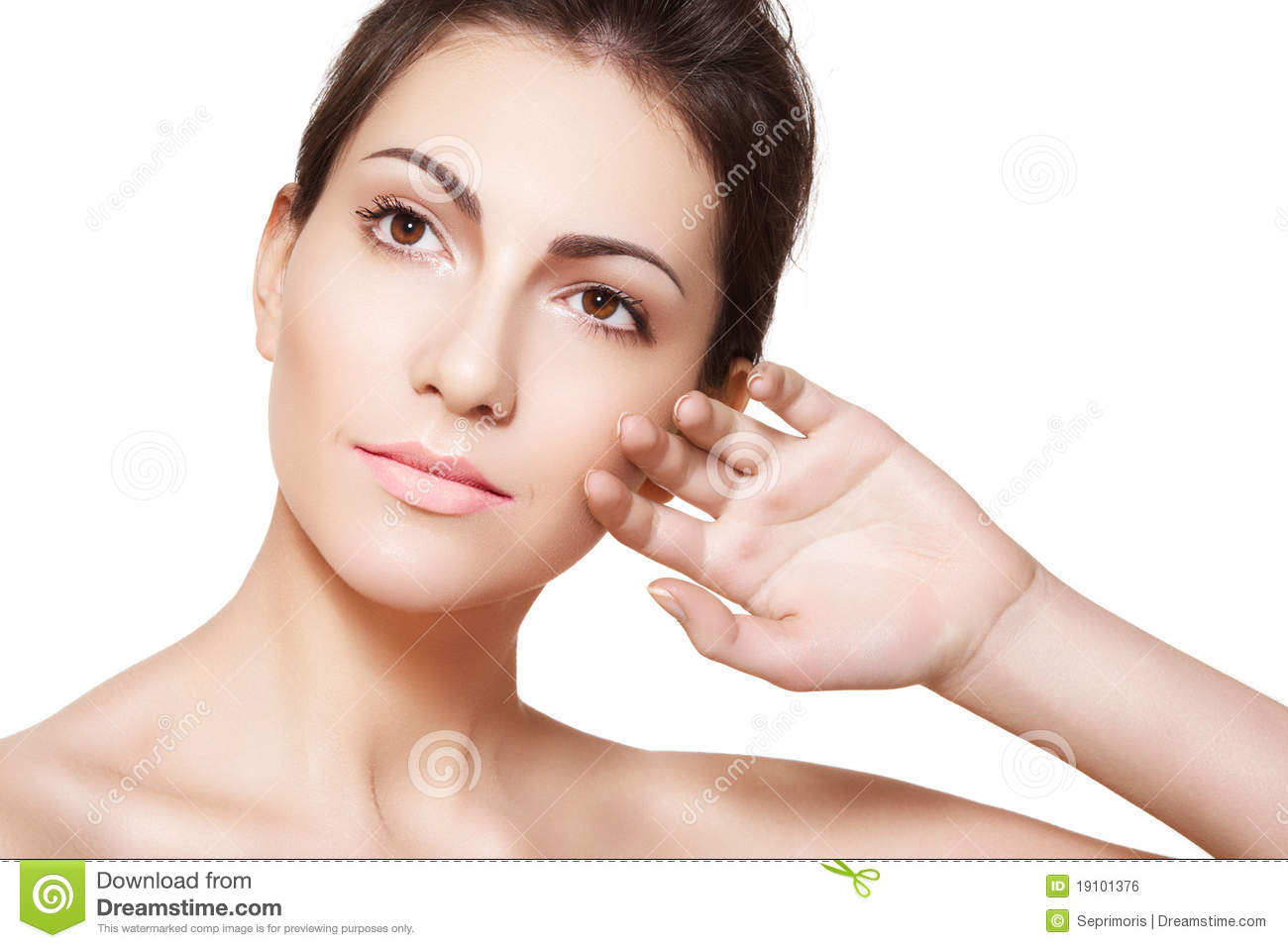Wellness. Woman Model Face With Healthy Clean Skin Royalty ...