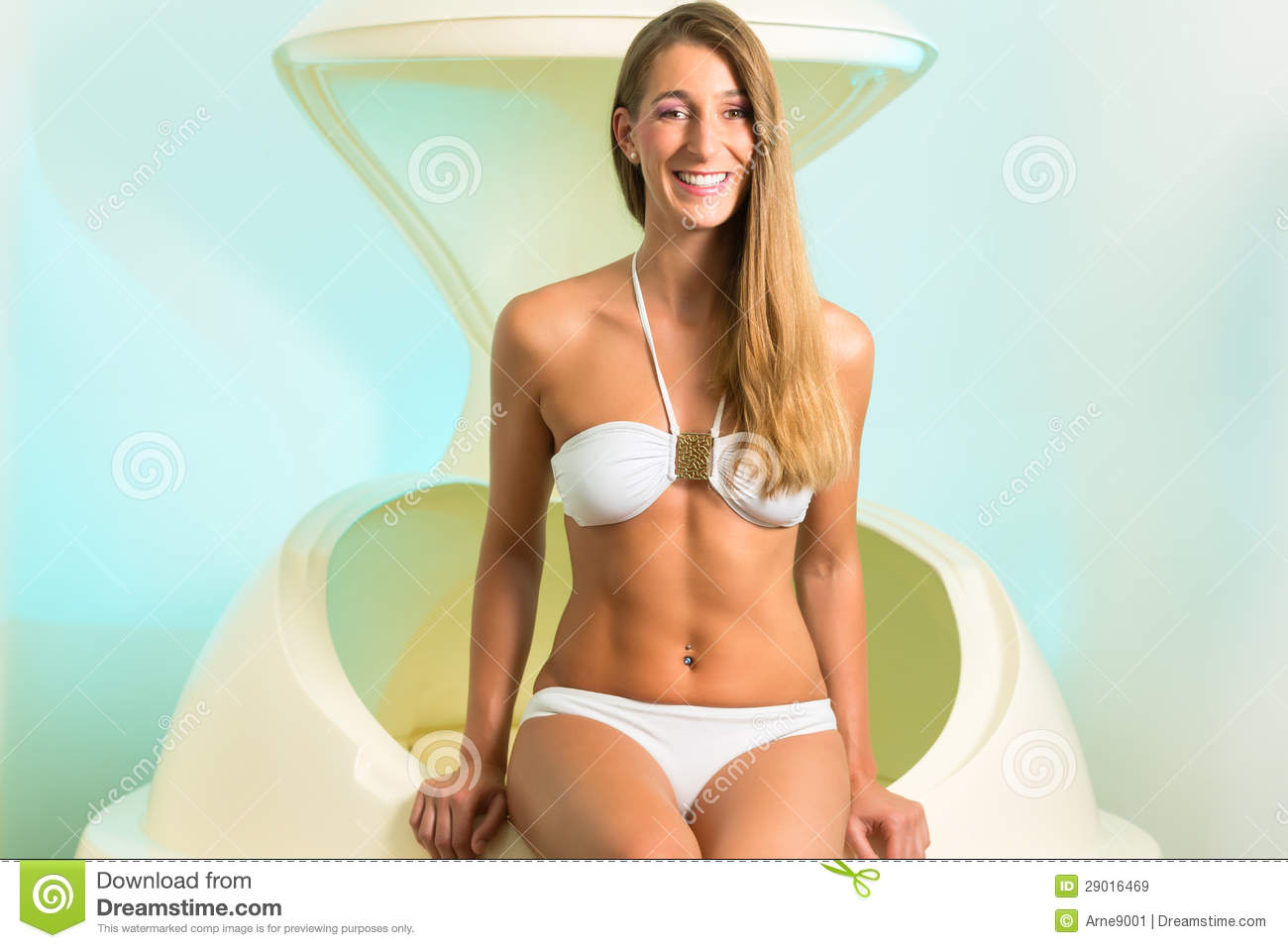 Wellness Young Woman Floating In Spa In Tank Stock Image