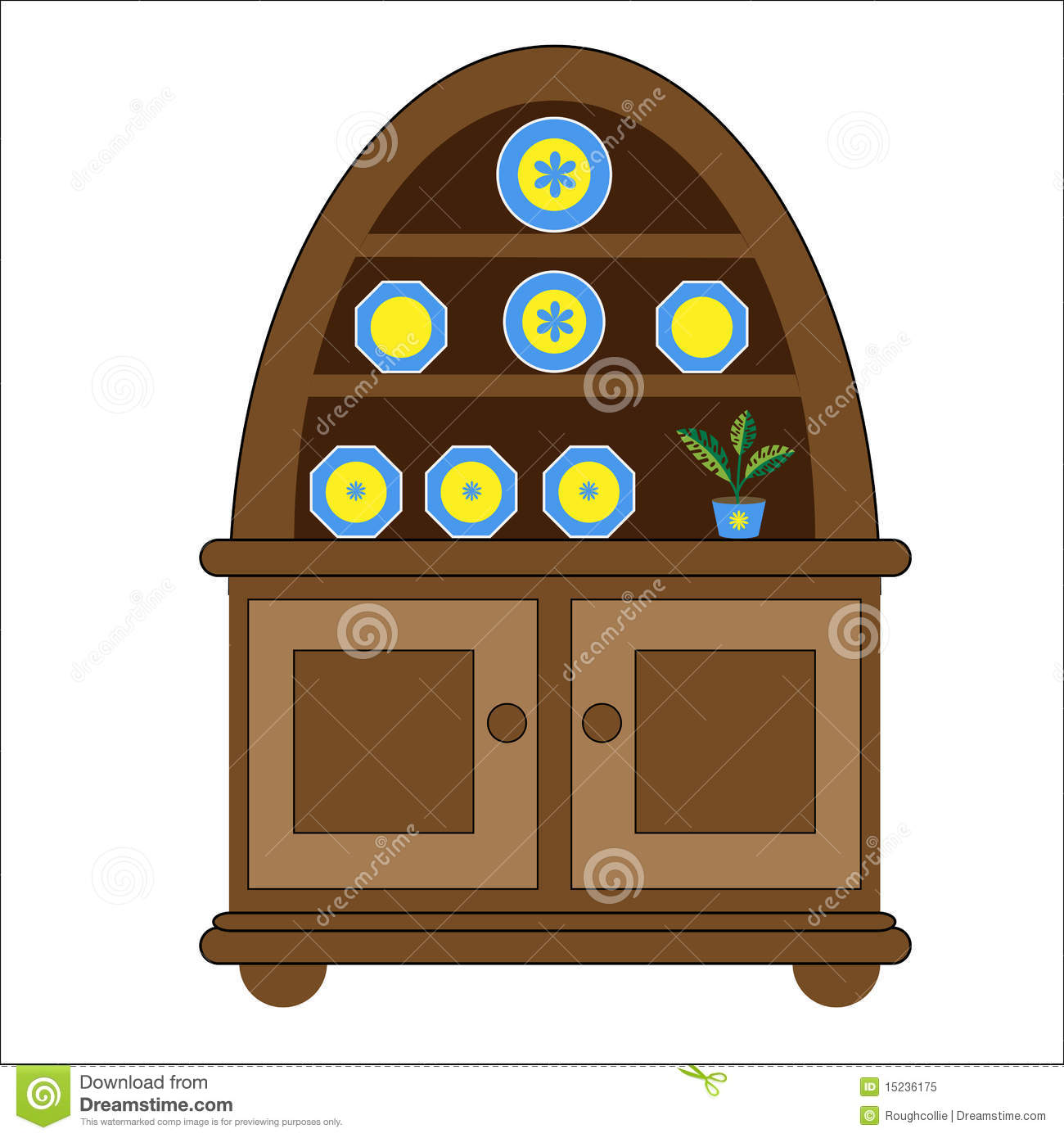 Kitchen Drawer Clip Art: Welsh Dresser Display Cabinet Royalty Free Stock Photo