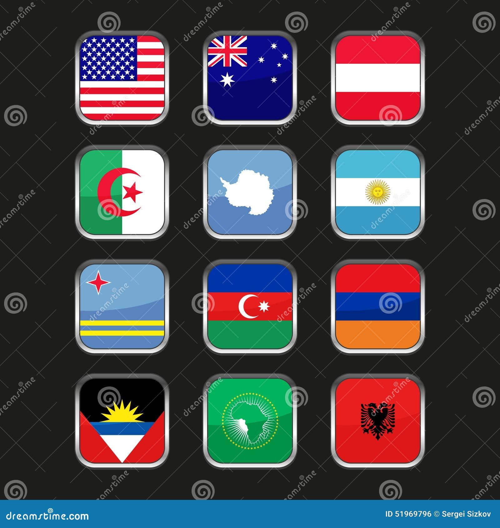 Weltflaggen-Ikonen Eingestellt Namen-Land Von Buchstaben A Vektor ...